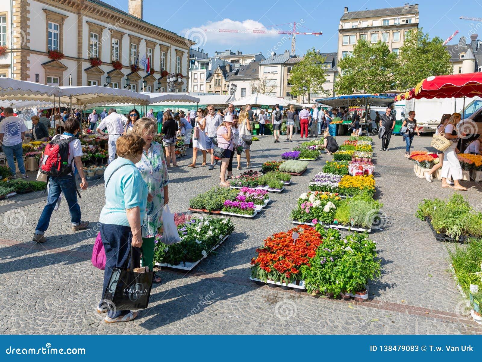 Kwiatu rynek z zakupów ludźmi w Luksemburg mieście