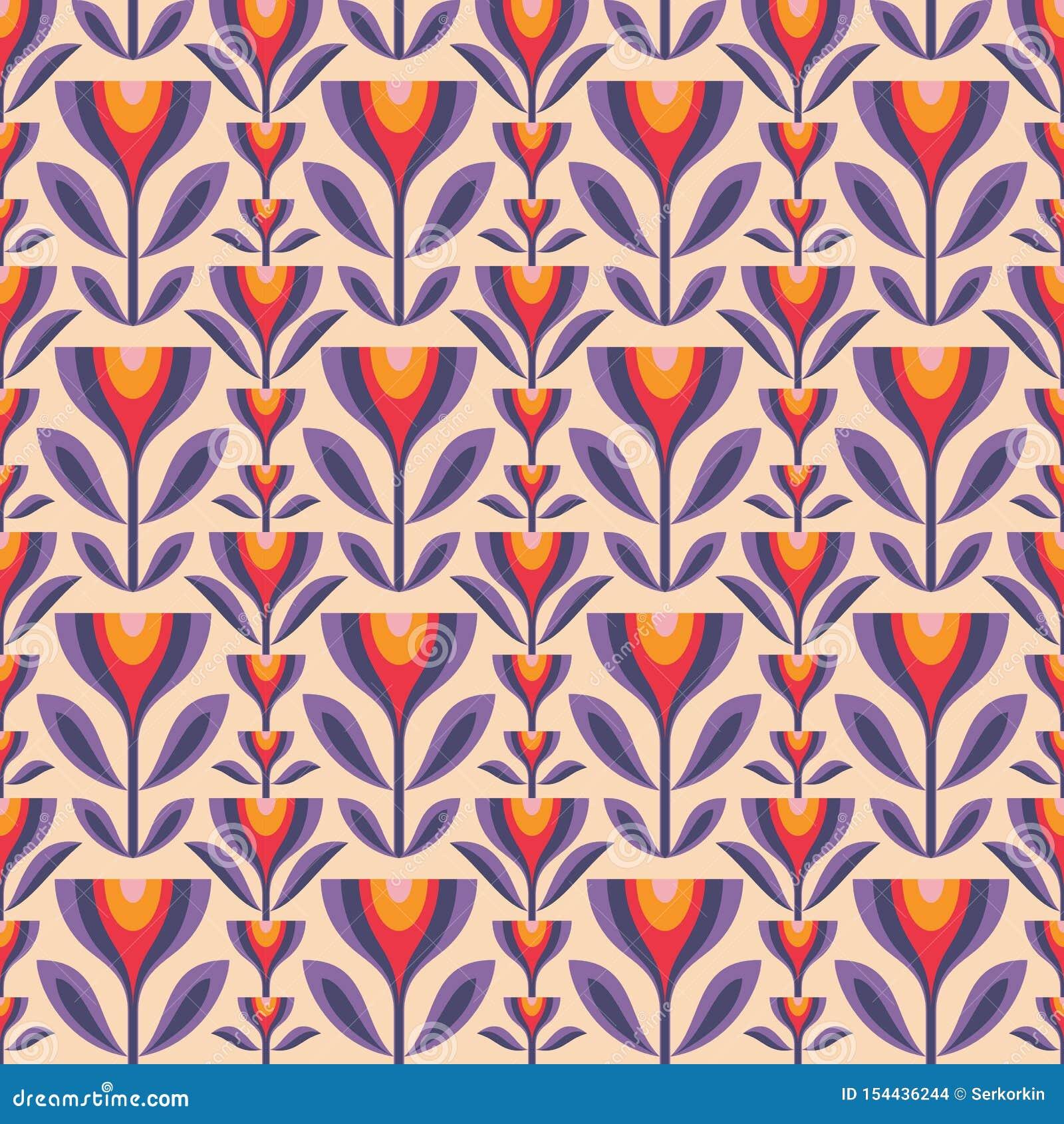 Kwiaty i li?cie Wiek sztuki współczesnej wektoru tło abstrakcjonistyczny geometryczny deseniowy bezszwowy Dekoracyjny ornament w