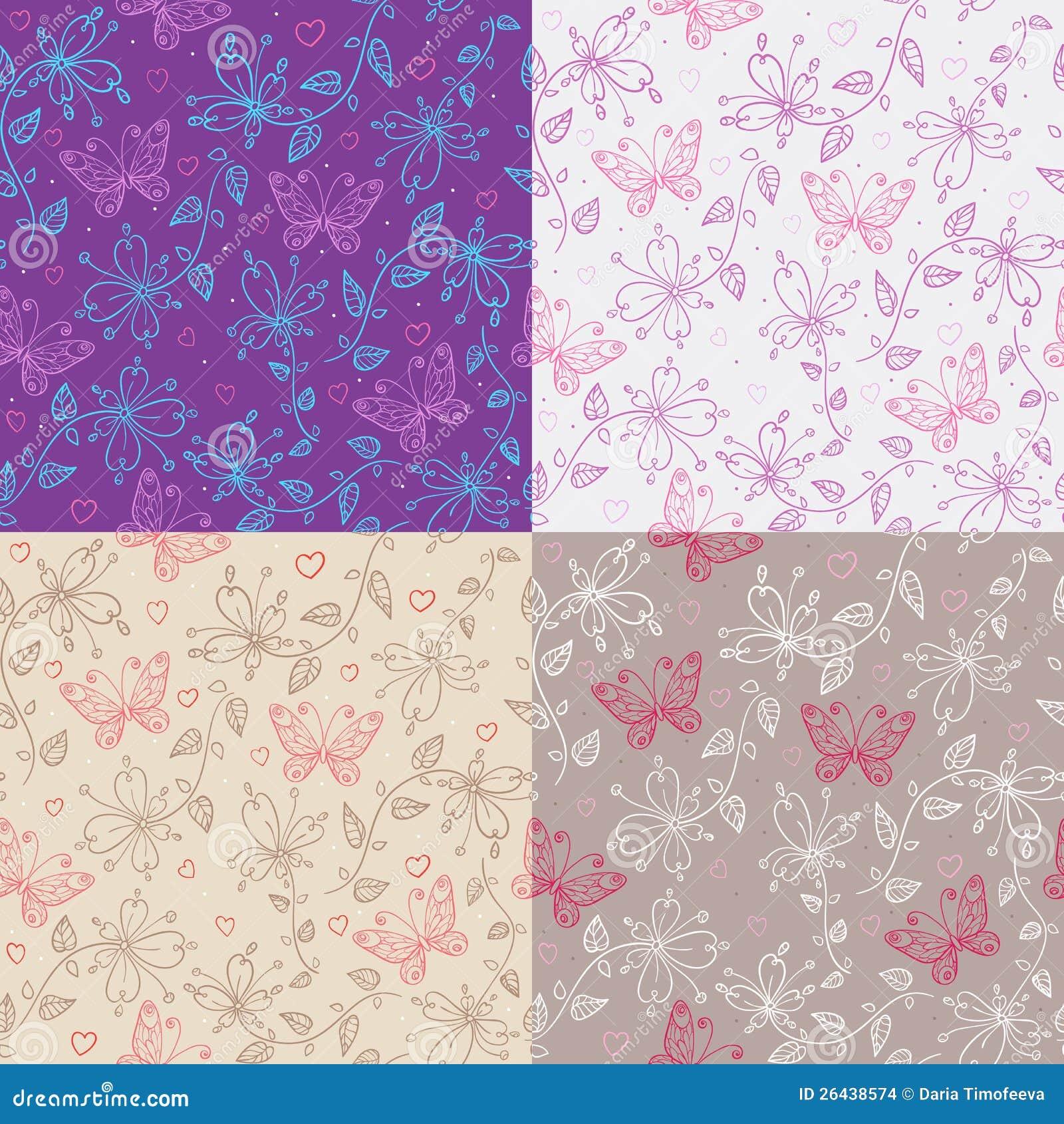 Kwiaty i motyle. cztery różny kolor