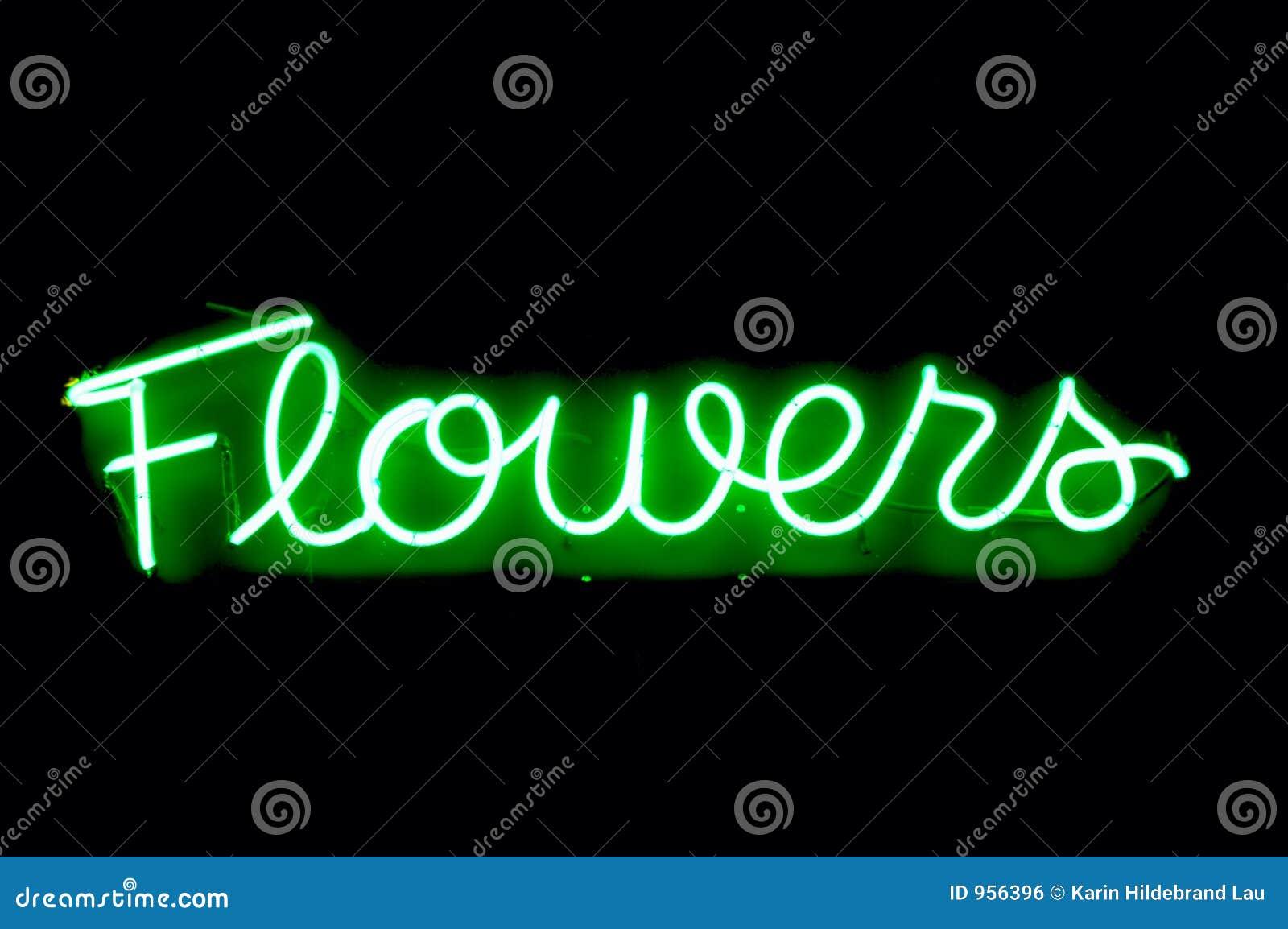Kwiaty neonowego znaku