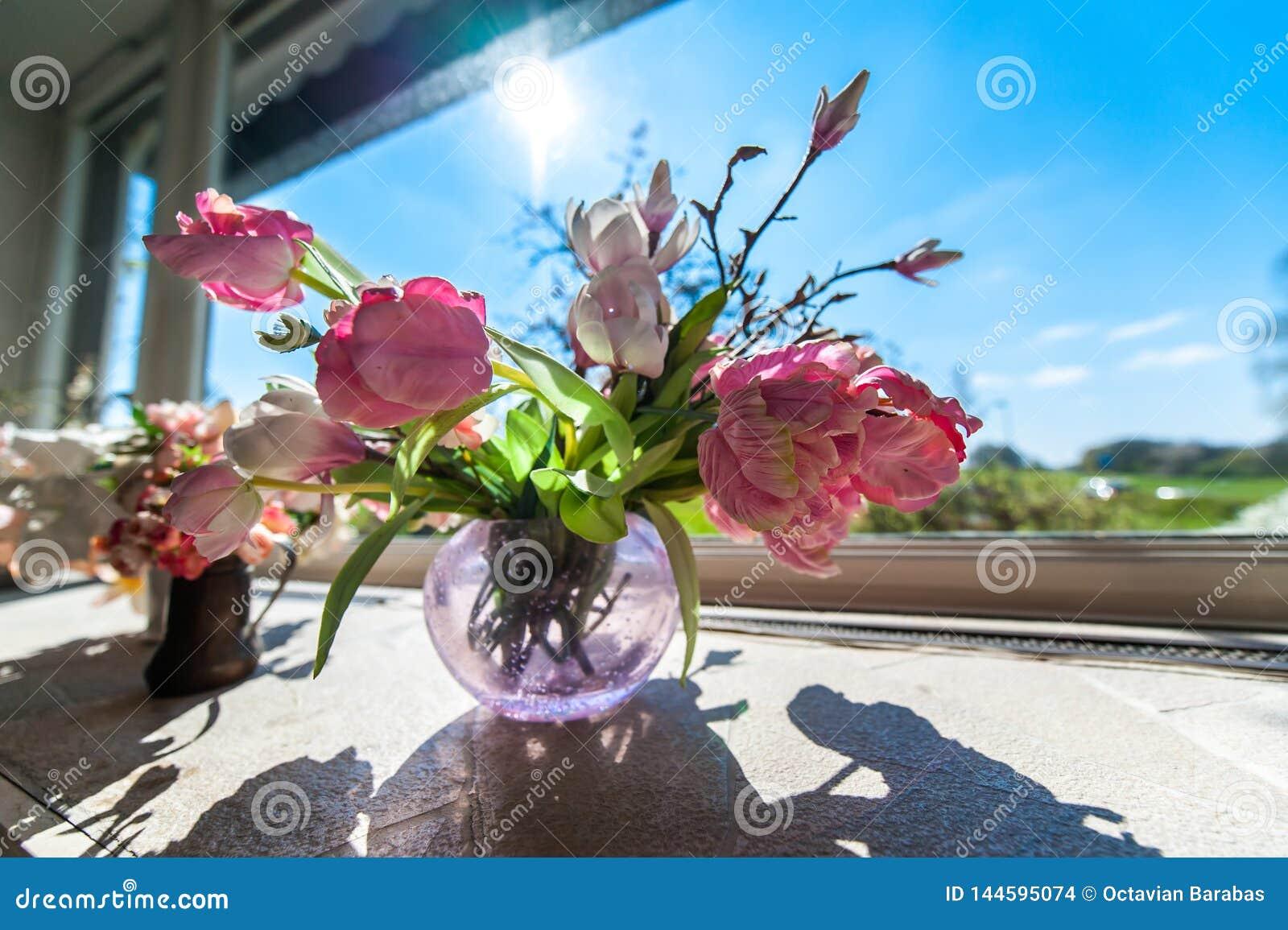 Kwiaty w wazie przed okno z niebieskim niebem