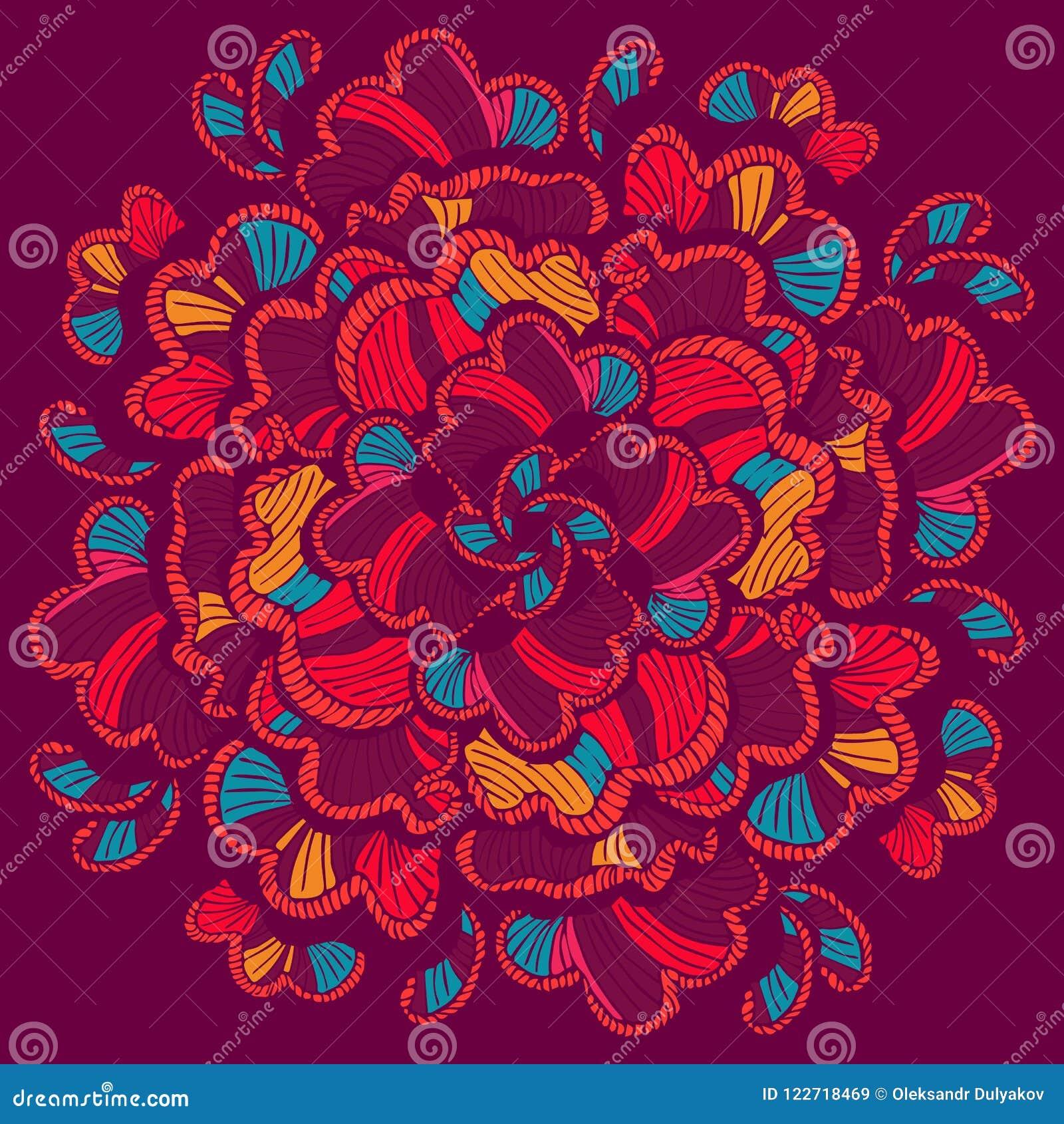Kwiaty zielenieją ilustracyjnego liść mandala wzoru bezszwowych brzmienia Wektorowa ręka rysujący projekta szablon Boho projektuj