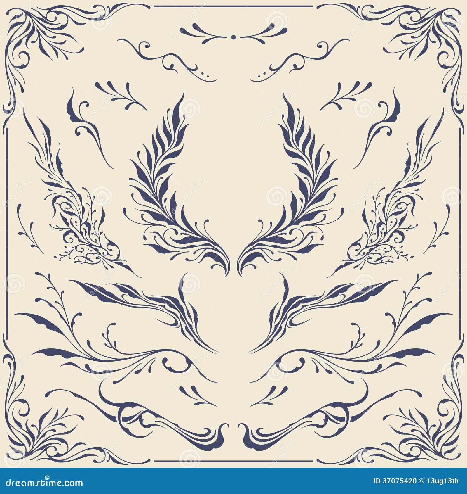 Download Kwieciści Ramy & Granicy Ornamenty Ilustracja Wektor - Ilustracja złożonej z przerwy, kolekcja: 37075420