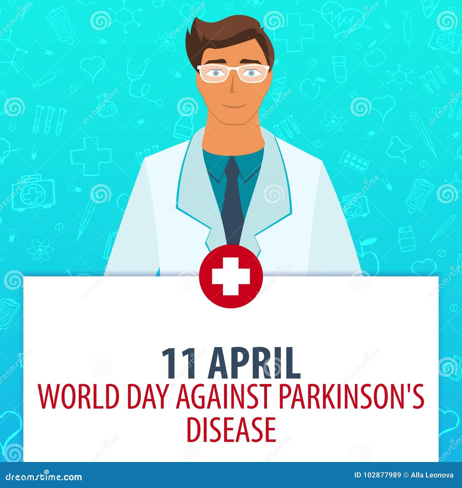 11 Kwiecień Światowy dzień przeciw Parkinsons chorobie Medyczny wakacje Wektorowa medycyny ilustracja