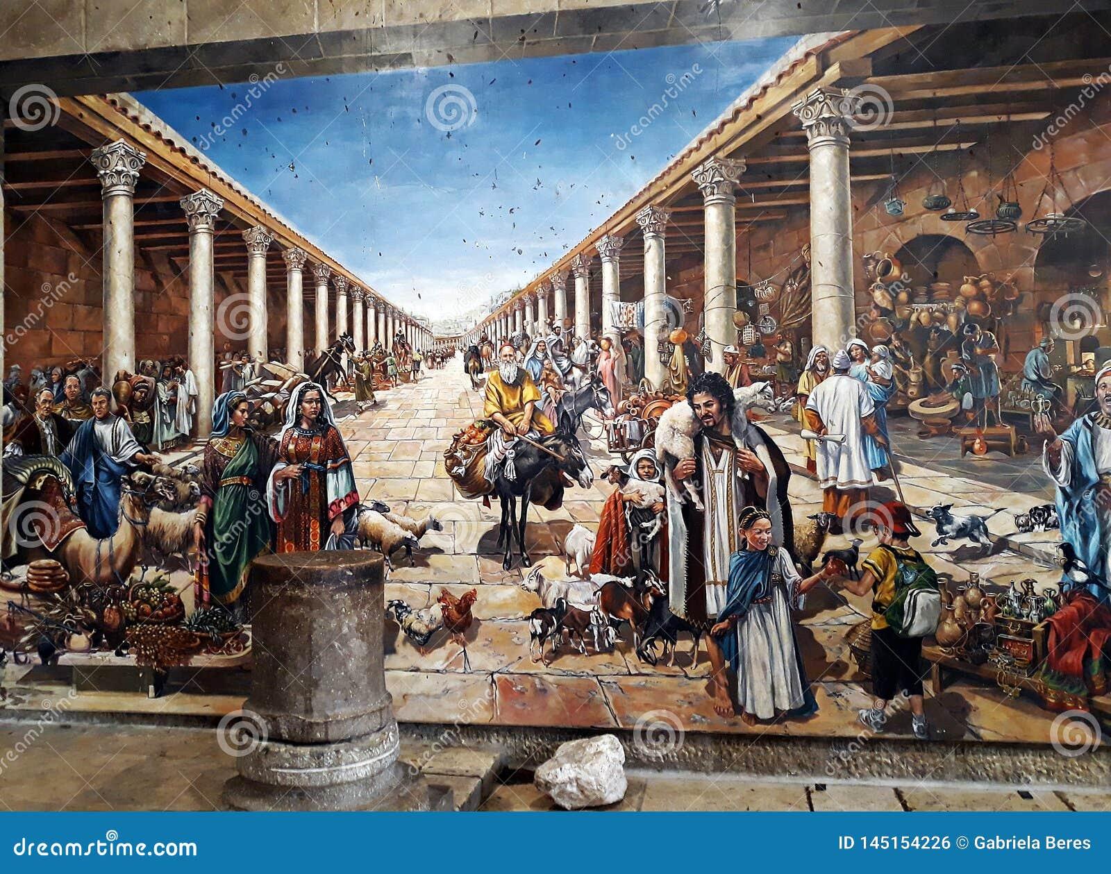 10 2018 Kwiecień, Jerozolima, Izrael Mozaika inspirująca Ravenna mozaikami odsłaniał w Żydowskiej ćwiartce Jerozolima Stary