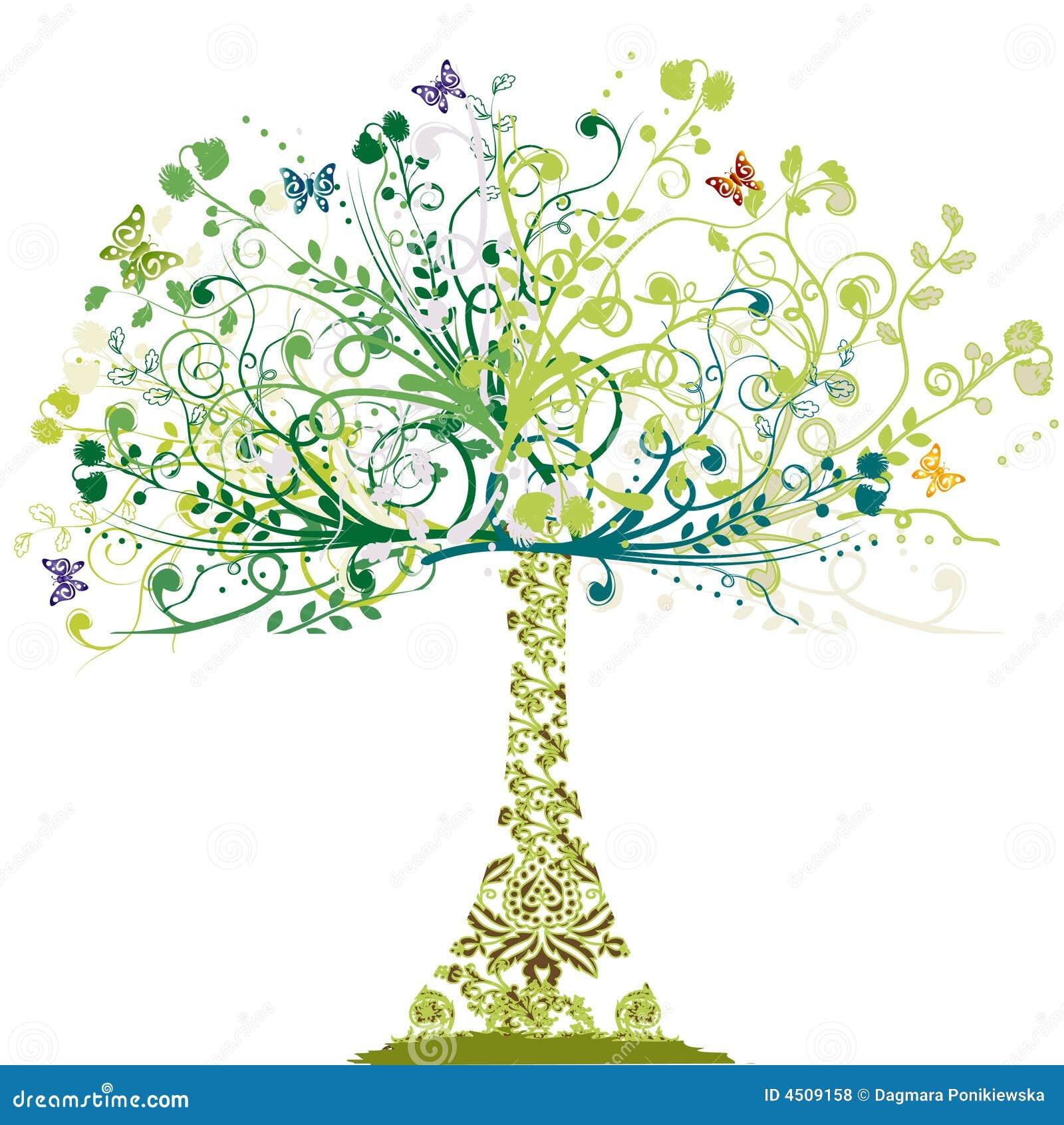 Kwiecistego wiosny ornamentu drzewo
