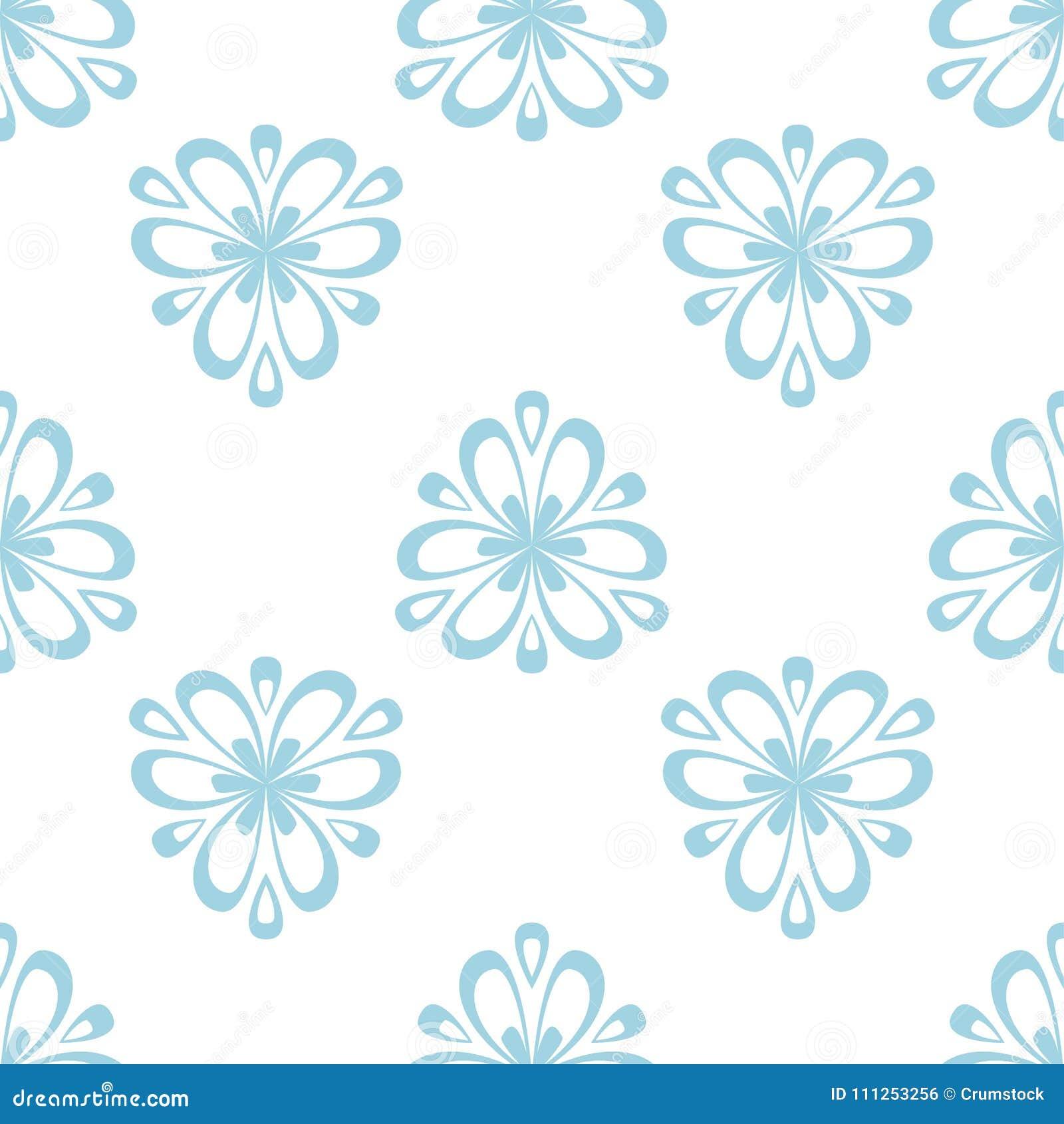 Kwiecisty barwiony bezszwowy wzór Błękitny i biały tło z fower elementami dla tapet