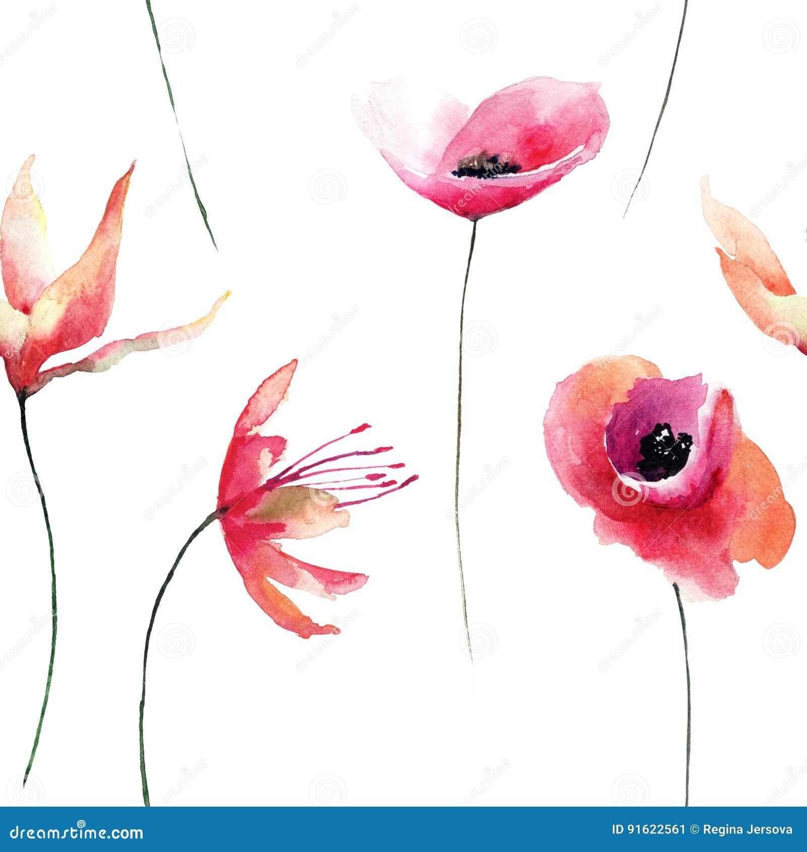 Kwiecisty bezszwowy wzór z kwiatami, watercolour ilustracja