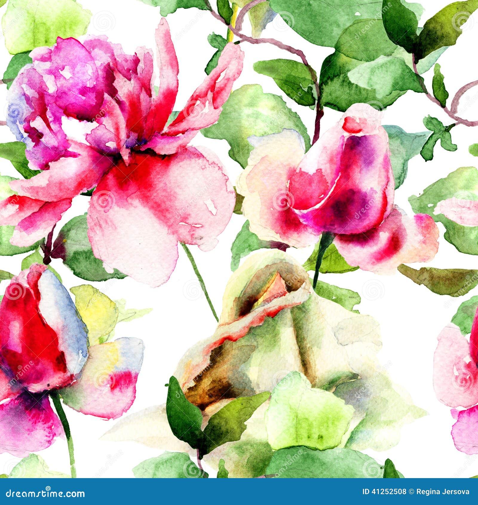 Kwiecisty bezszwowy wzór z peonią i różami kwitnie