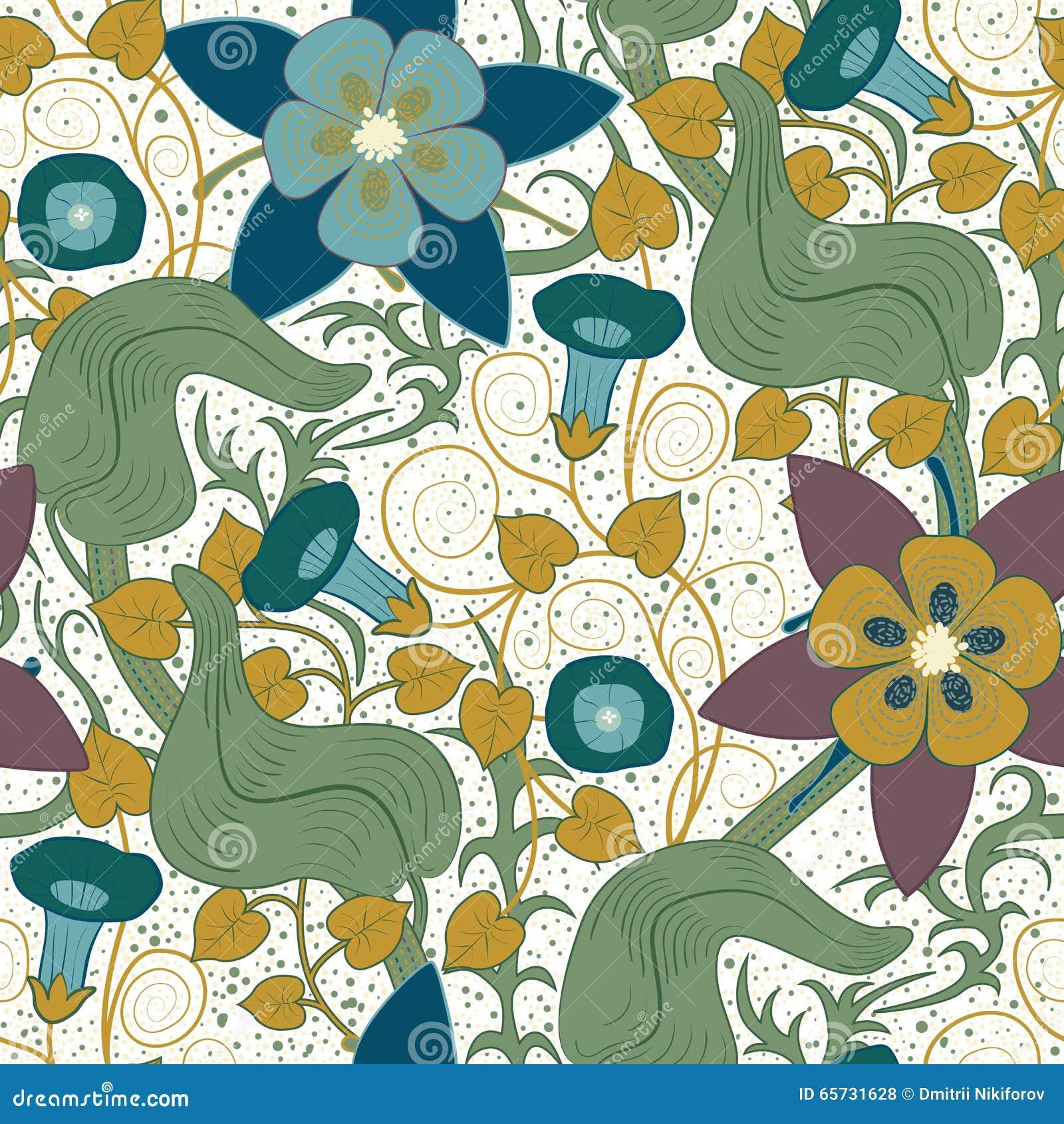 Kwiecisty deseniowy bezszwowy wektorowy rocznik tło białe kwiaty
