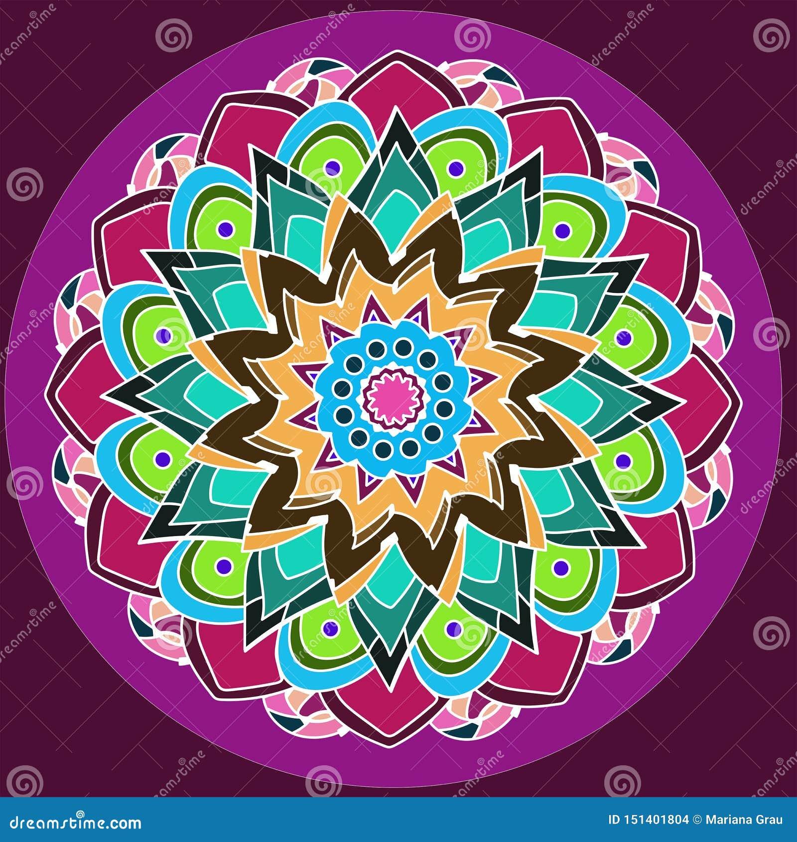 Kwiecisty mandala Dalia kwiat KOLOROWY wizerunek W purpurach, BURGUNDY, zieleń, turkus, menchia, kolor żółty, pomarańcze PALIN fi