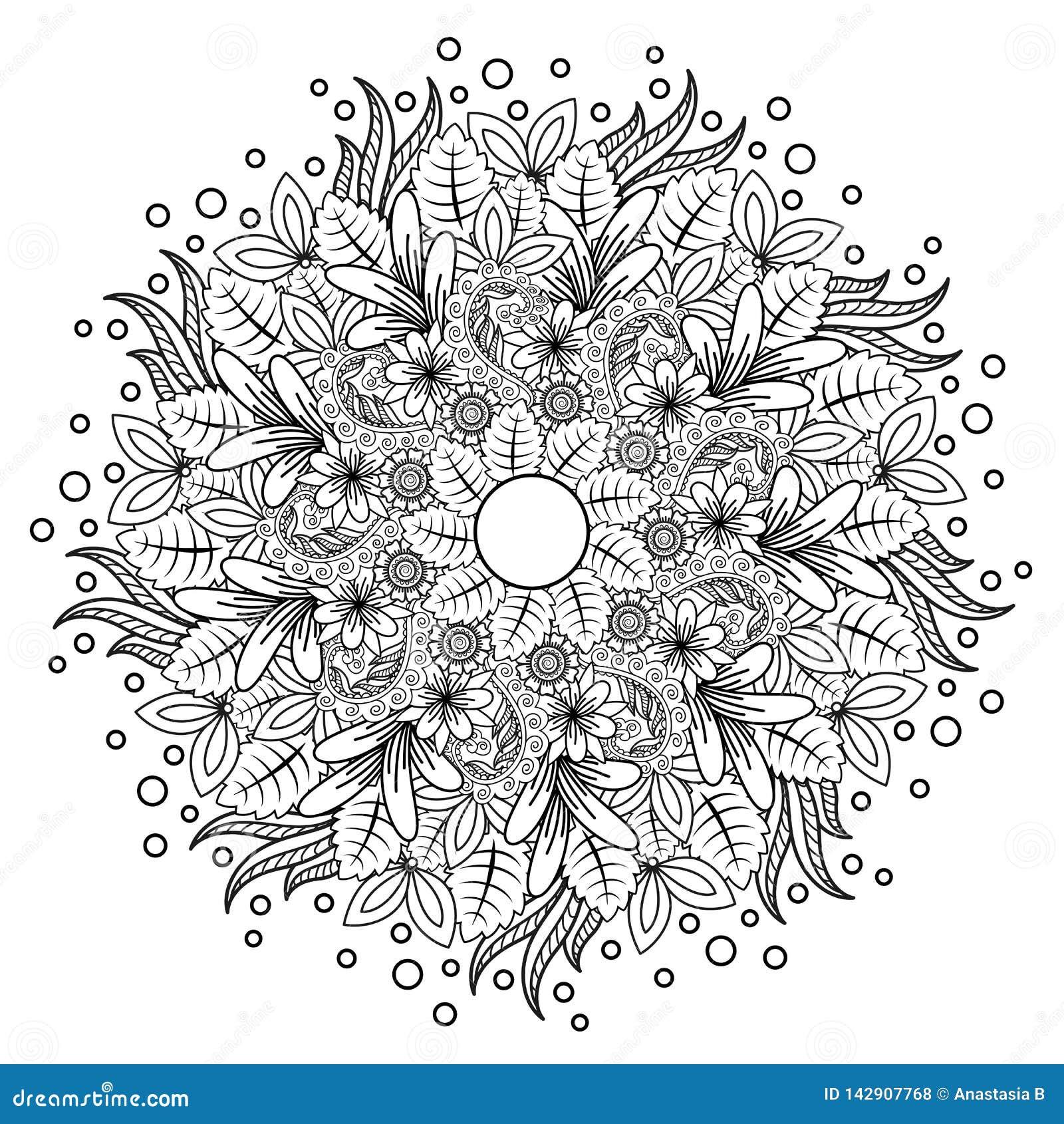 Kwiecisty mandala Wektorowy ilustracyjny zentangl Doodle rysunek Medytacyjni ?wiczenia Kolorystyki ksi??ki anty stres