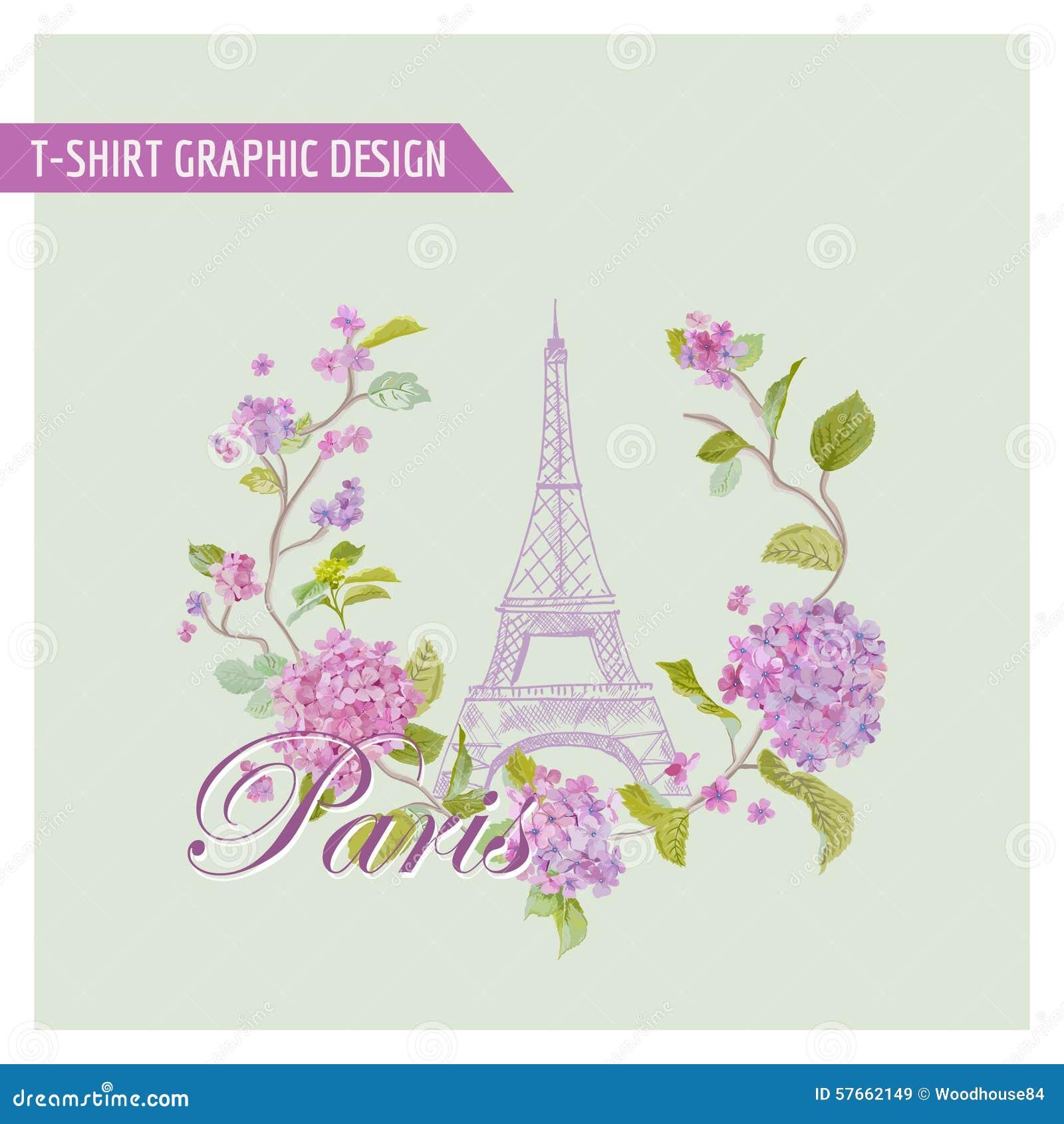 Kwiecisty Paryski Graficzny projekt dla koszulki -