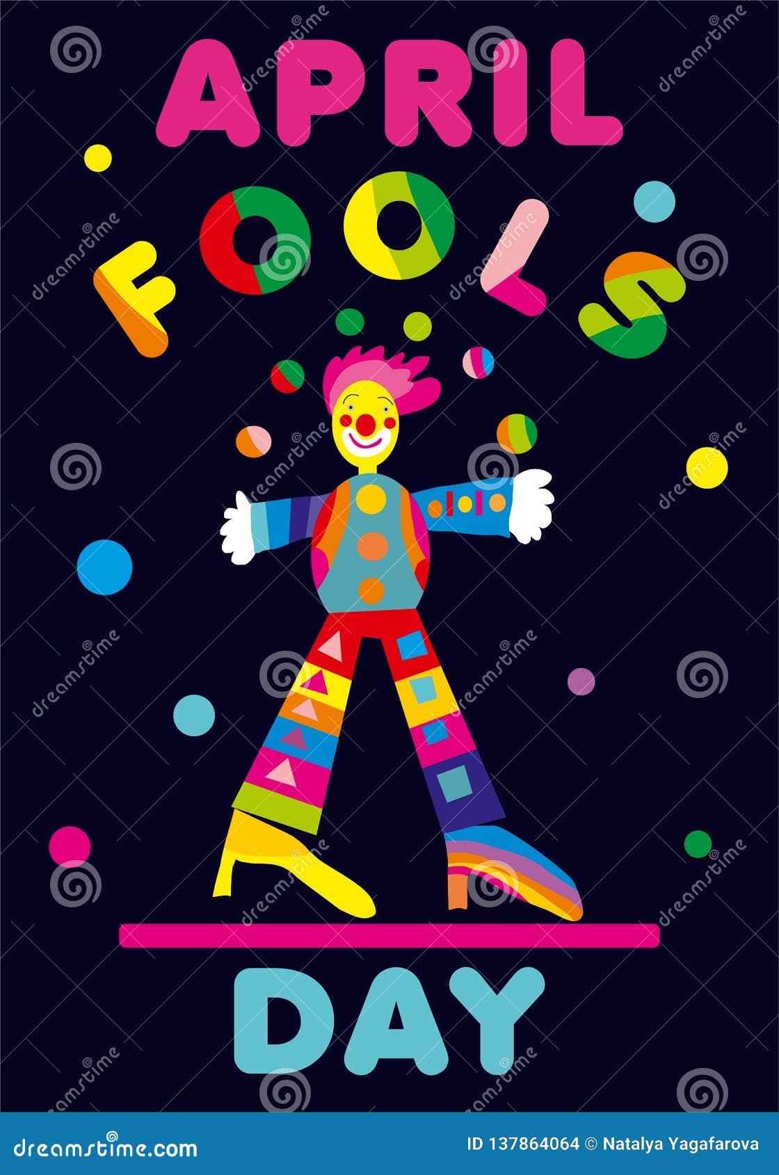 Kwietni durni dnia powitanie z juggler Doskonalić dla kartka z pozdrowieniami, sztandaru lub reklamy, 1st Kwiecień