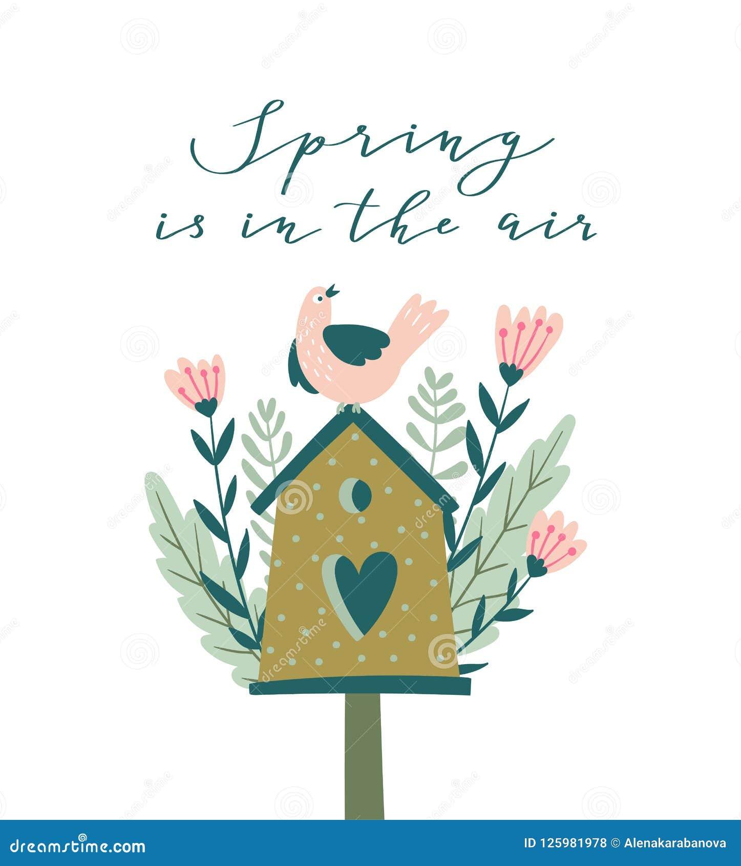 Kwitnie gniazdować pudełko z kaligrafią - ` wiosna jest w lotniczy ` Śliczna sezonu ` s powitań wektoru ilustracja