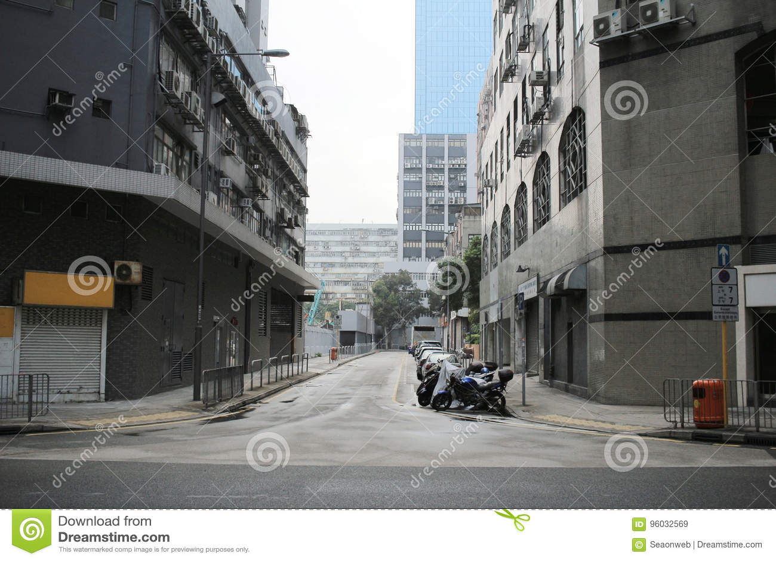 Kwun Tong, Kowloon podpalany Biznesowy teren
