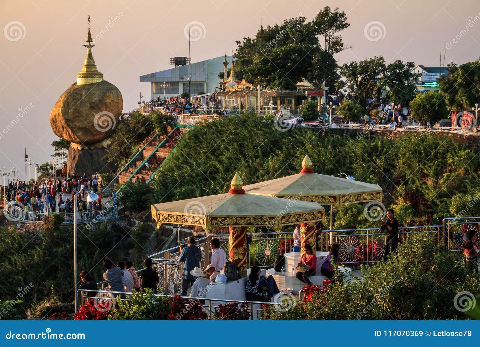Kyaiktiyo Pagoda also known as Golden Rock at sunset, Mon State, Myanmar