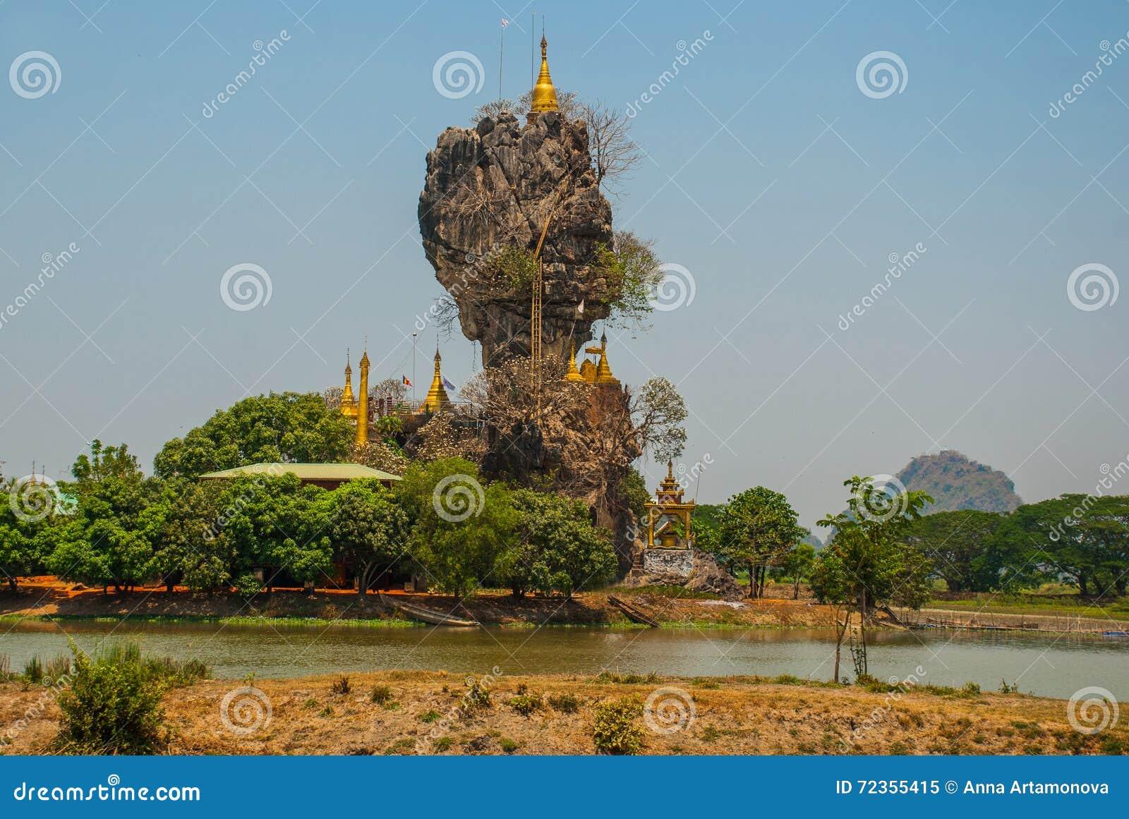 Kyauk Kalat塔 毛淡棉, Hha-an 缅甸 缅甸 小塔在一个陡峭的岩石被架设了