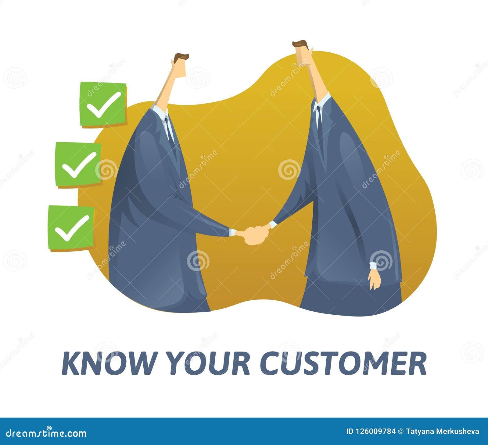 KYC,认识您的顾客概念 震动手和滴答作响的箱子的商人 在白色的色的平的传染媒介例证