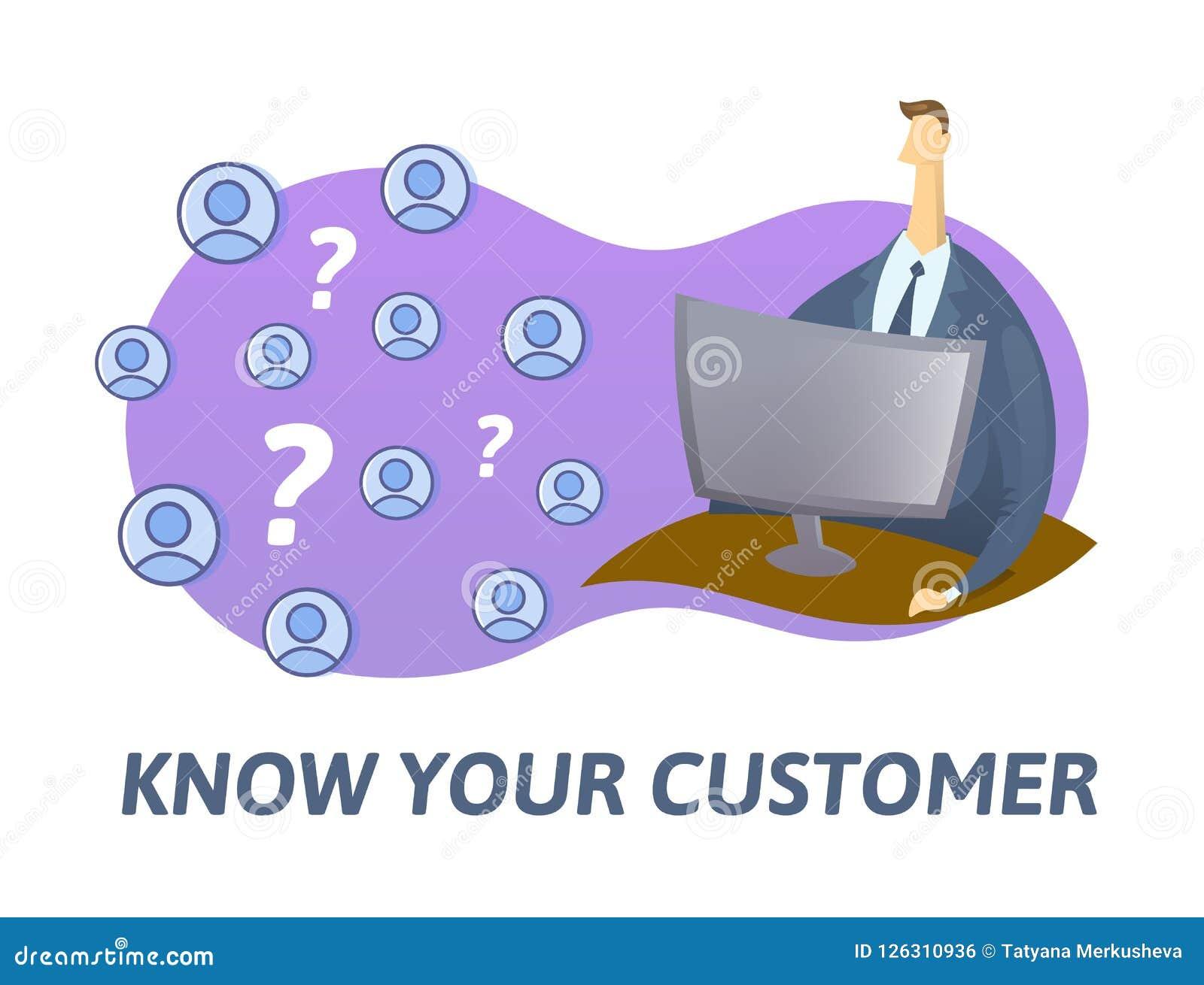KYC, conocen su concepto del cliente Hombre de negocios que comprueba la información sobre Internet Ejemplo plano coloreado del v