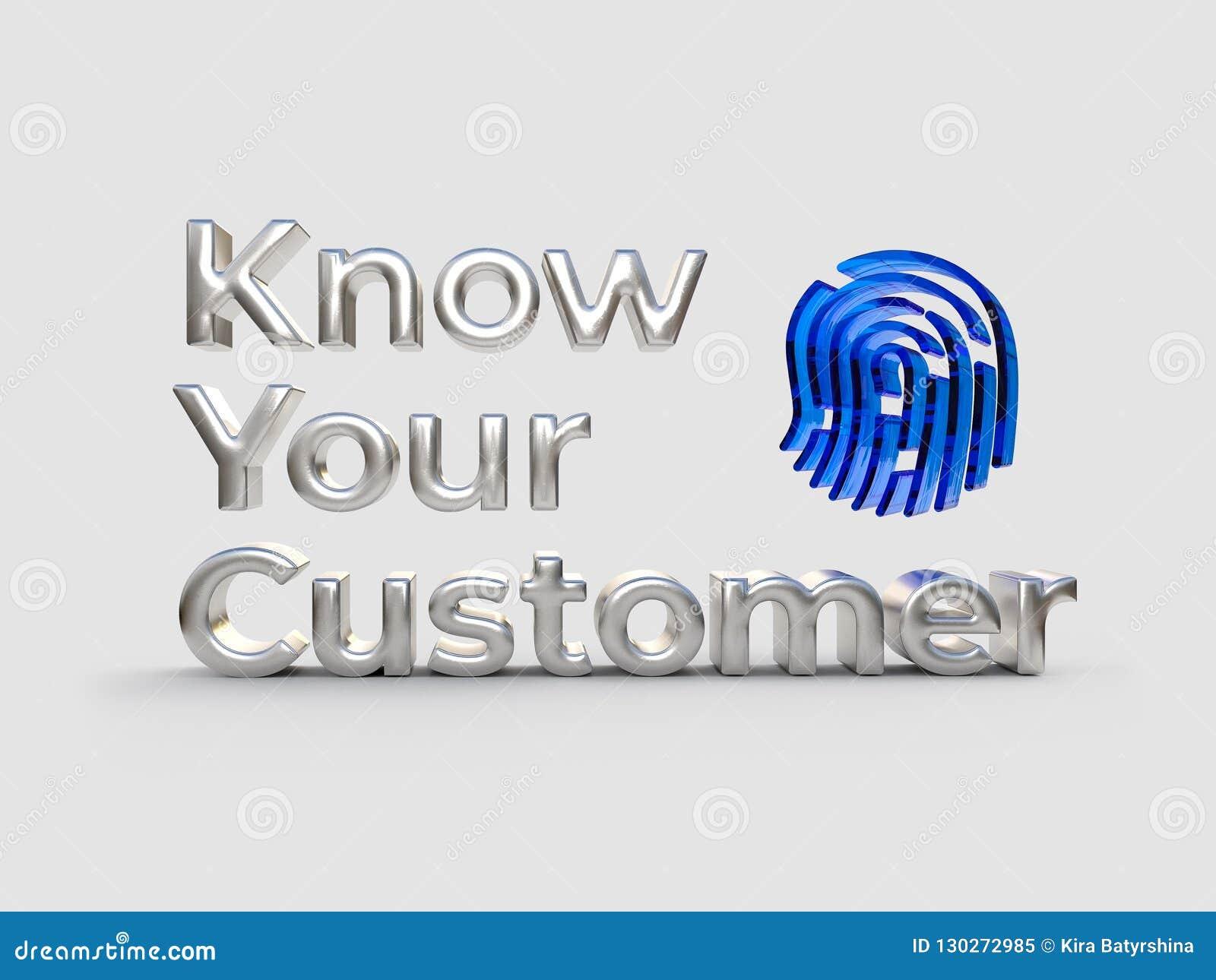 KYC - Zna Twój klienta tekst, sreber słowa i błękita znaka, biznesowy pojęcie ilustracja 3 d