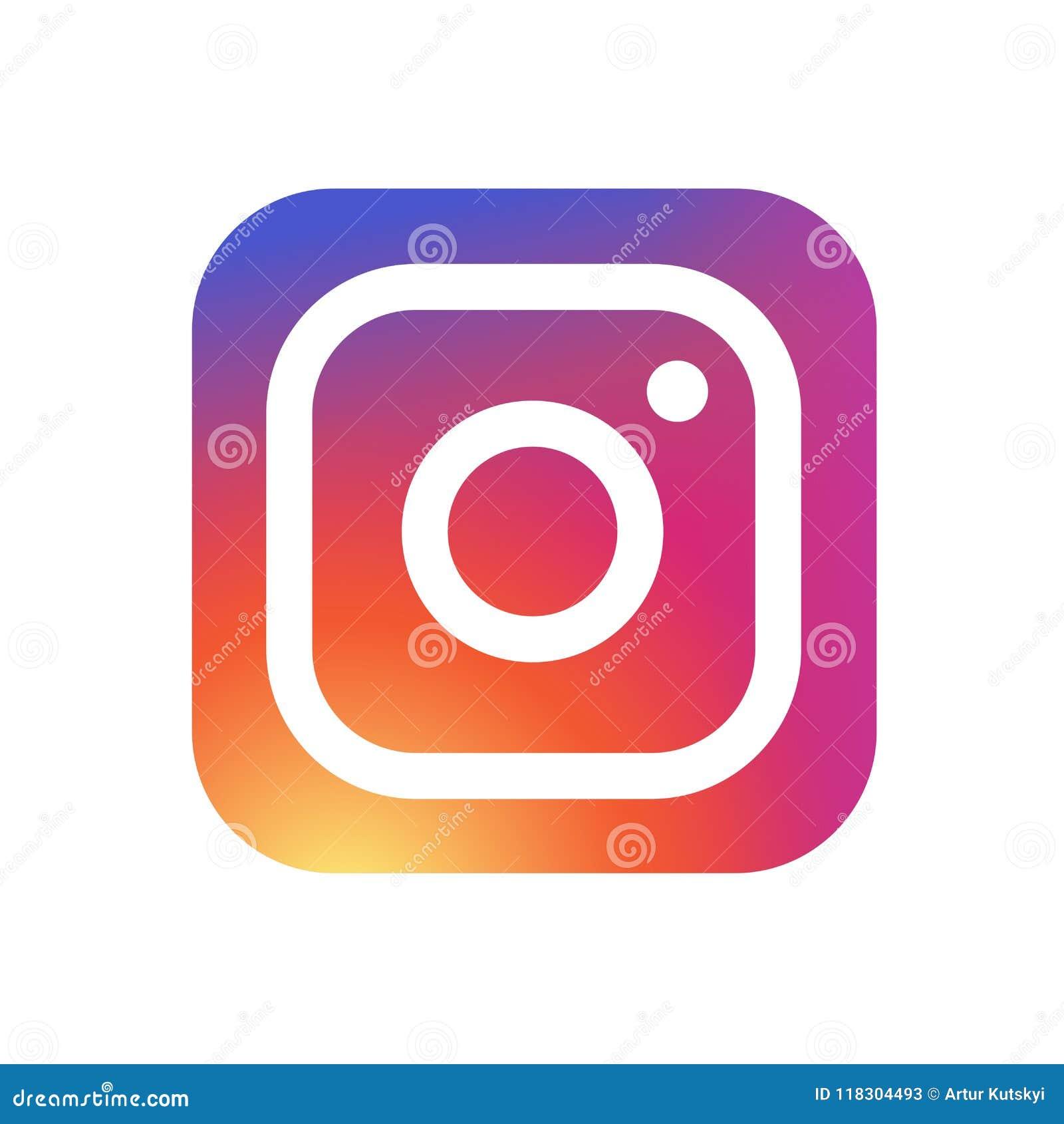 KYIV UKRAINA - Maj 31, 2018 - ny symbol för Instagram kameralogo med modern lutningdesign Instagram är ett foto och