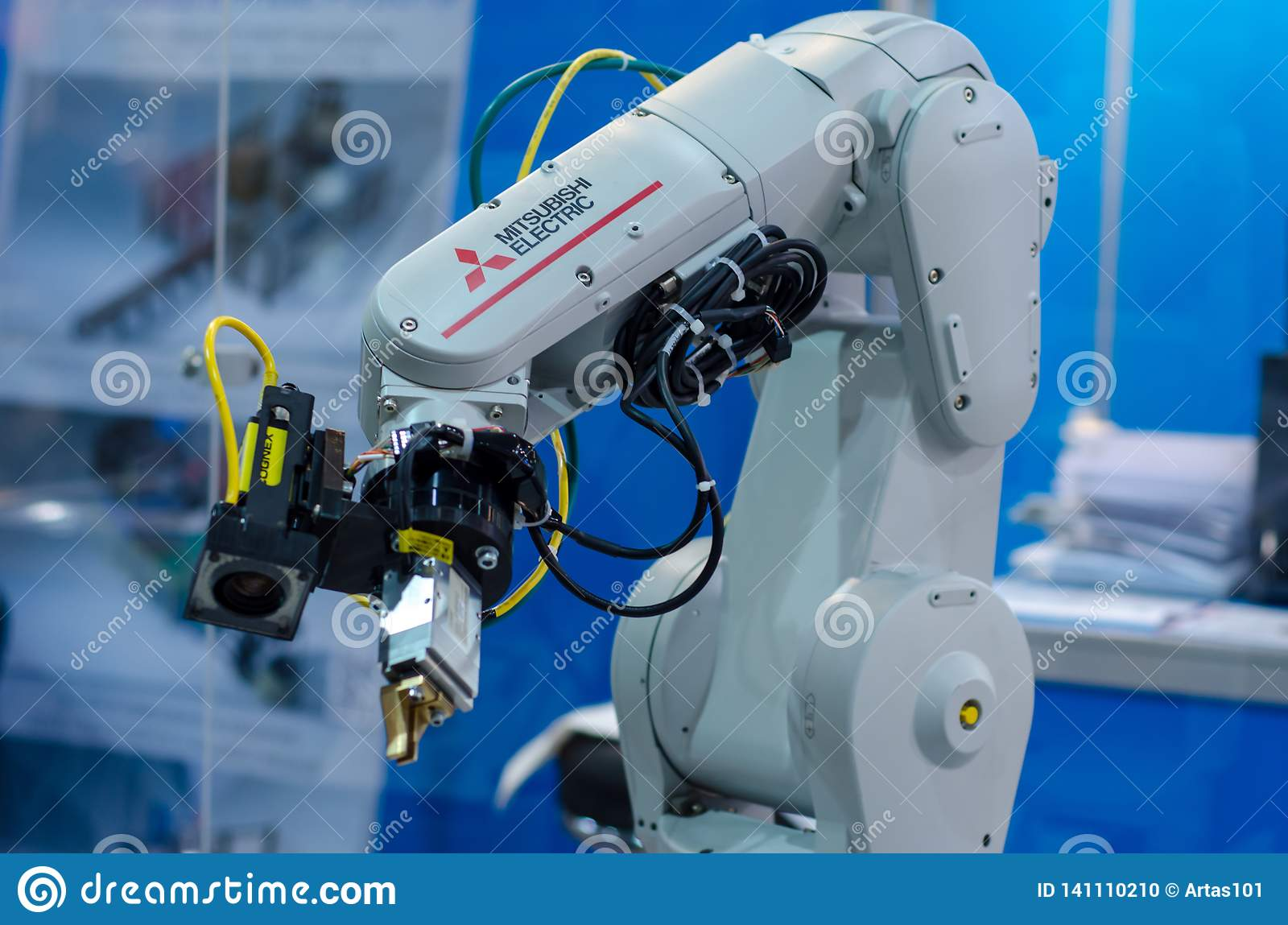 Kyiv Ukraina - November 22, 2018: Mitsubishi Electric robotarm