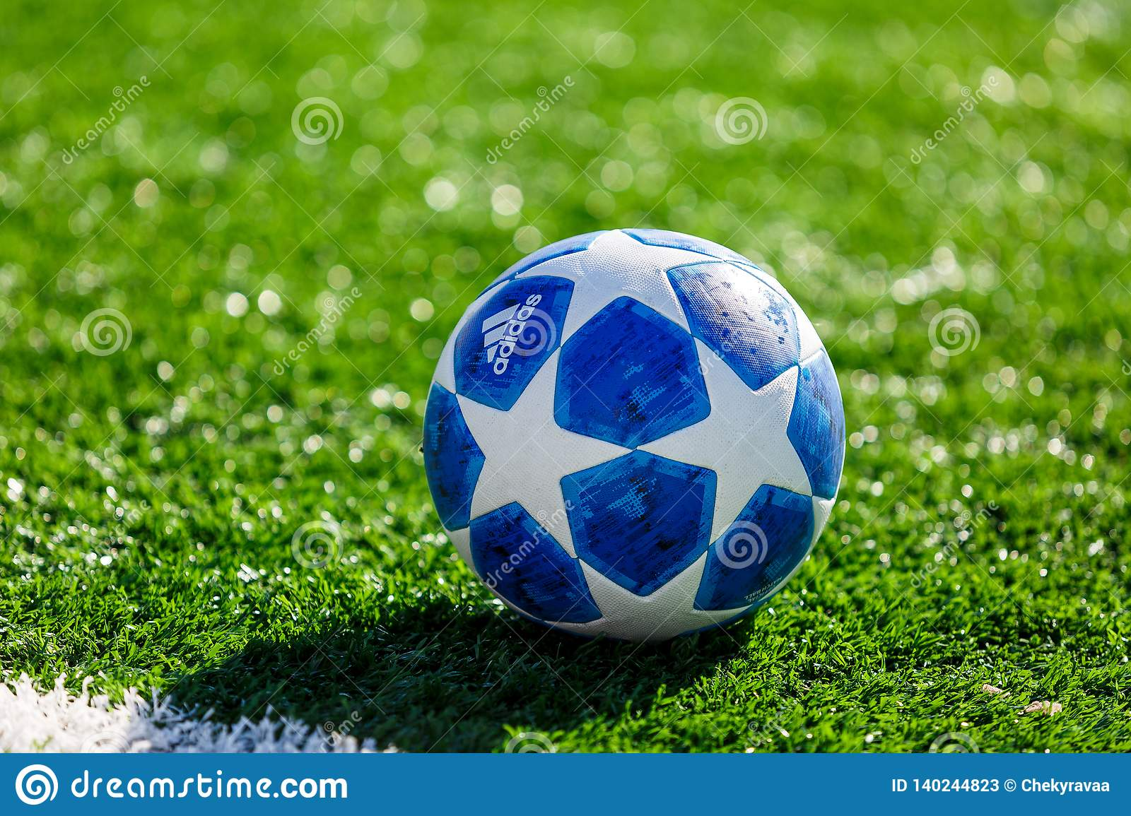 best service 7ab0b 64908 KYIV, UKRAINE — February 16 2019  Official match ball of UEFA Champions  League season 2018 19 Adidas Finale Top training on grass before game.