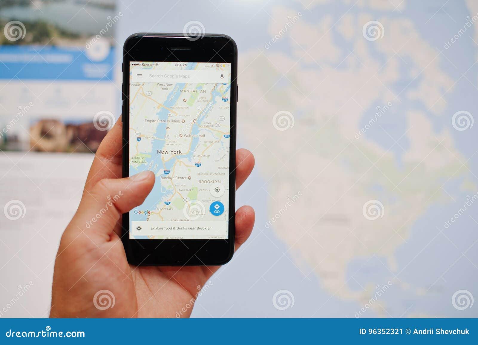 kyiv ukraine jul 11 2017 apple iphone 7 with google maps app