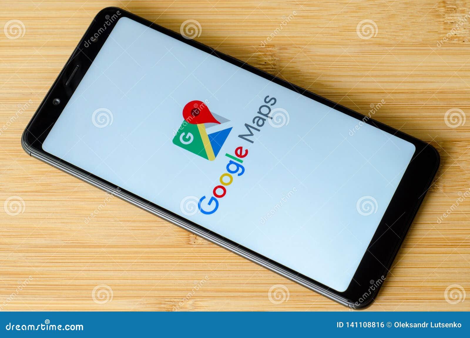 Kyiv, Ukraine- July 15, 2018: Google Maps Logo On Screen
