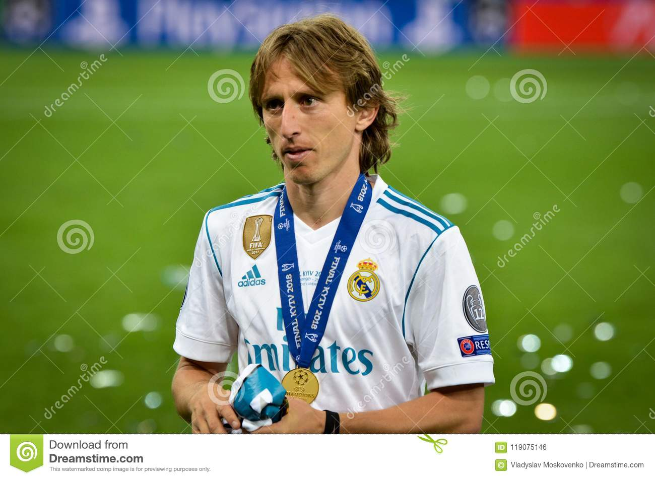 KYIV, UKRAINE - MAY 26, 2018: Luka Modric of Real Madrid celebrate the victory in the final of the UEFA Champions League 2018 in