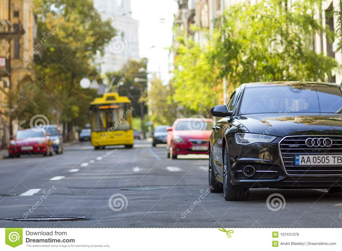 Kyiv, Ukraine - November 12, 2017: Modern new car on the side of
