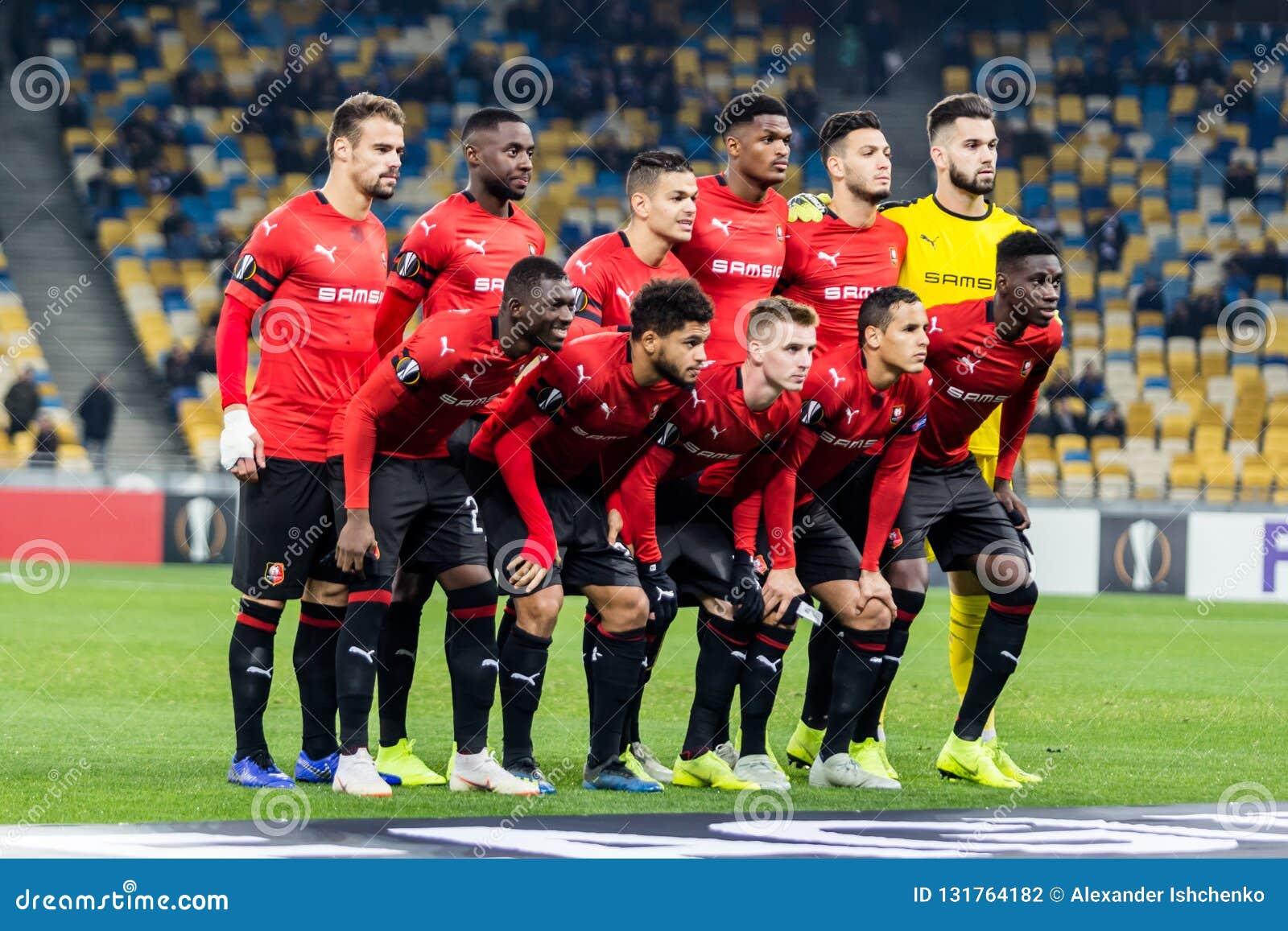 Kyiv, Ukraine - November 8, 2018: Stade Rennais team photo before the start of UEFA Europa League match against Dynamo Kyiv at NSC