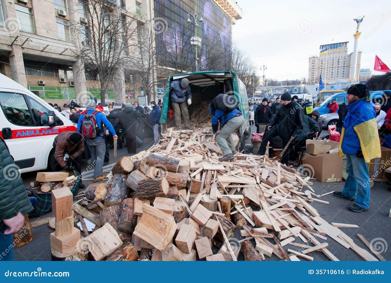 KYIV  UKRAINE  People harvest wood for fires  occupying main Maidan    Ukraine People