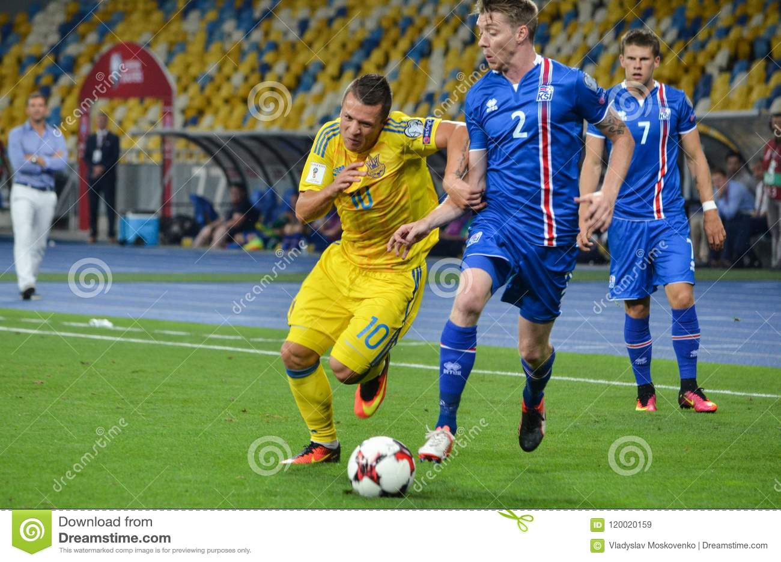 KYIV, UKRAINE - SEPT 5, 2016: Evgeniy Konoplyanka against Birkir Mar Saevarsson (R) during the FIFA World Cup 2018 qualifying