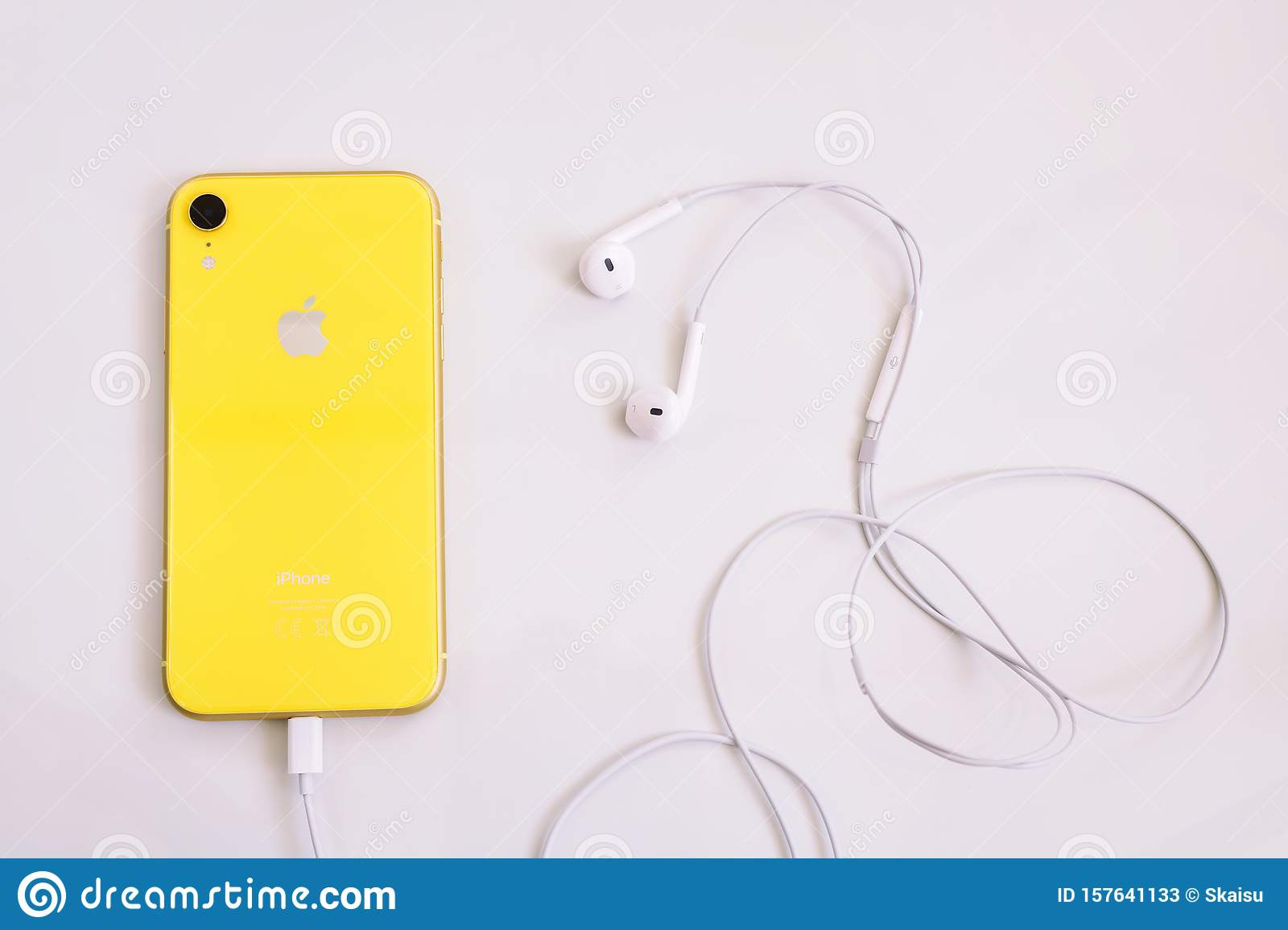 8 20 2019 Kyiv Ukraine Yellow Iphone Xr With Headphone Editorial Stock Photo Image Of Object Design 157641133