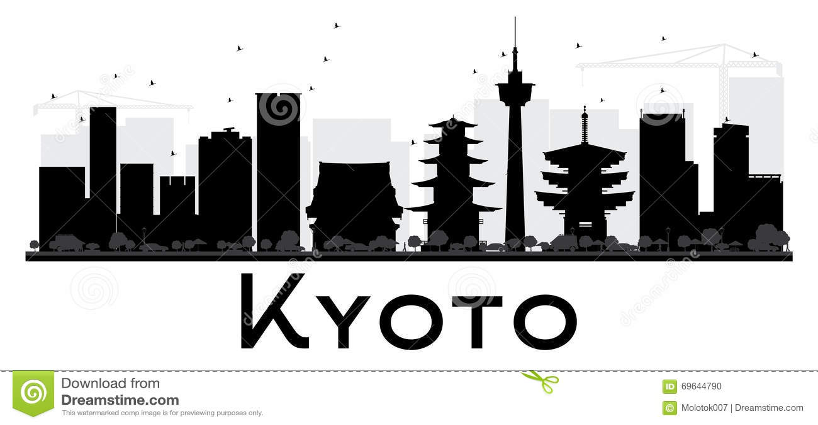Kyoto City Skyline Black And White Silhouette Stock