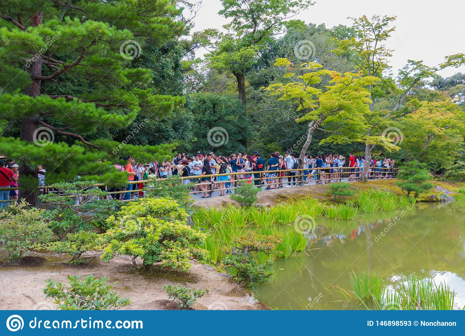 The Tourists Visit Kinkaku Ji Temple It Is A Zen Buddhist Temple