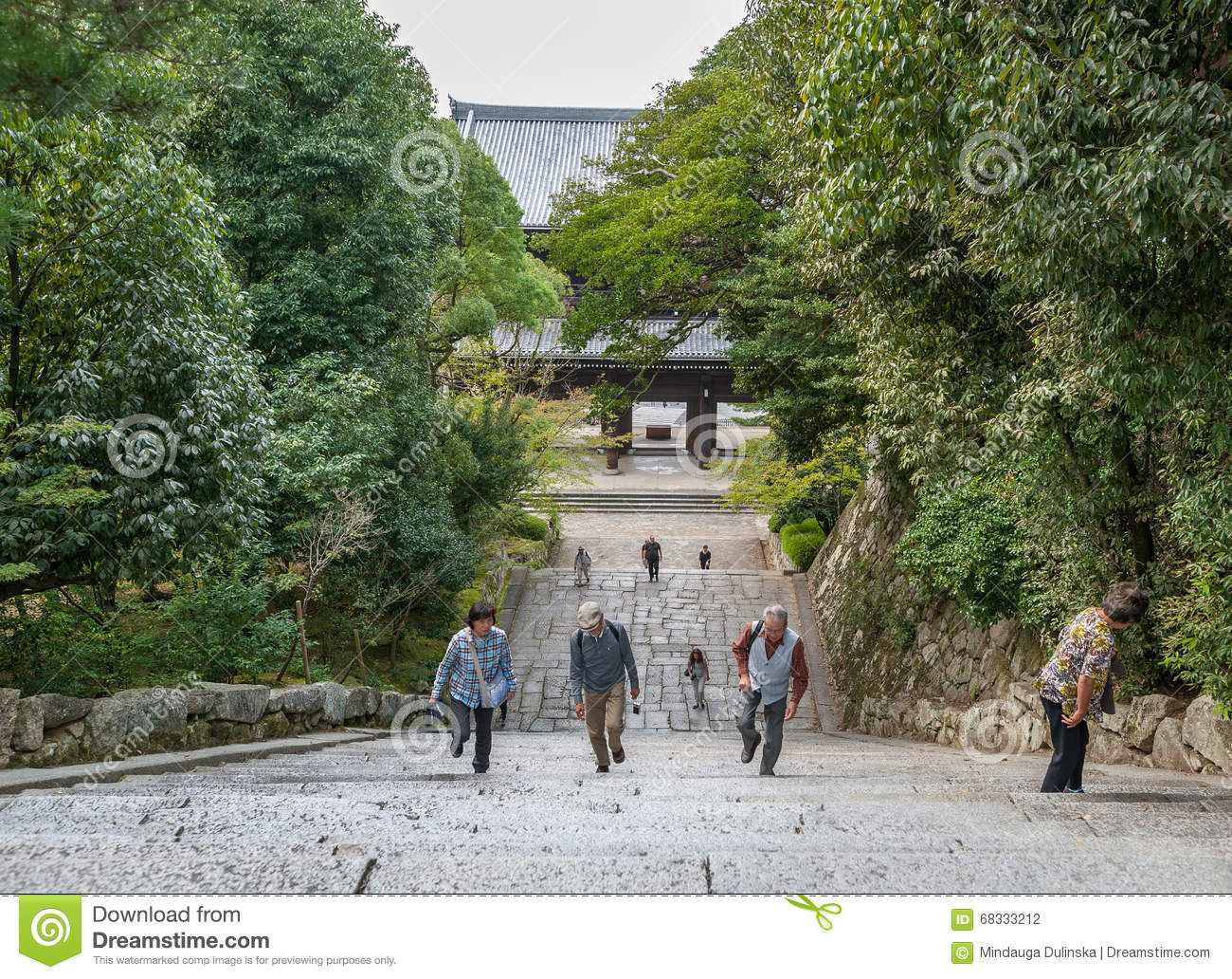 KYOTO, JAPAN - OCTOBER 09, 2015: Stairs to Chion-in Shrine, Temple in Higashiyama-ku, Kyoto, Japan. Headquarters of the Jodo-shu S