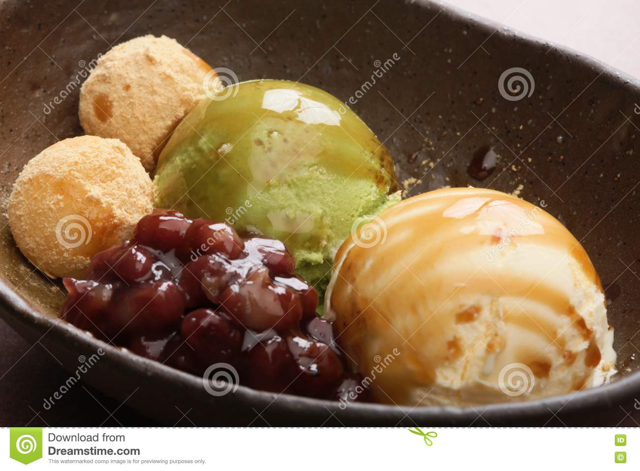 Kyoto style of ice cream with black bean in big stew