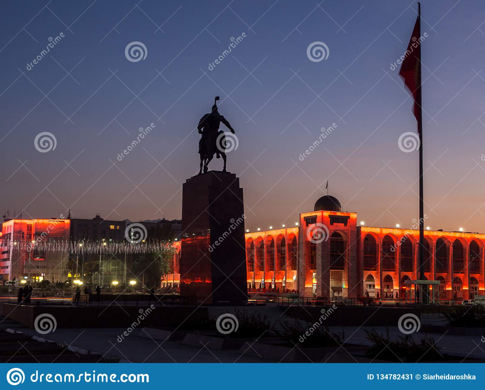 Bishkek. Ala-Too Square with the monument to Manas