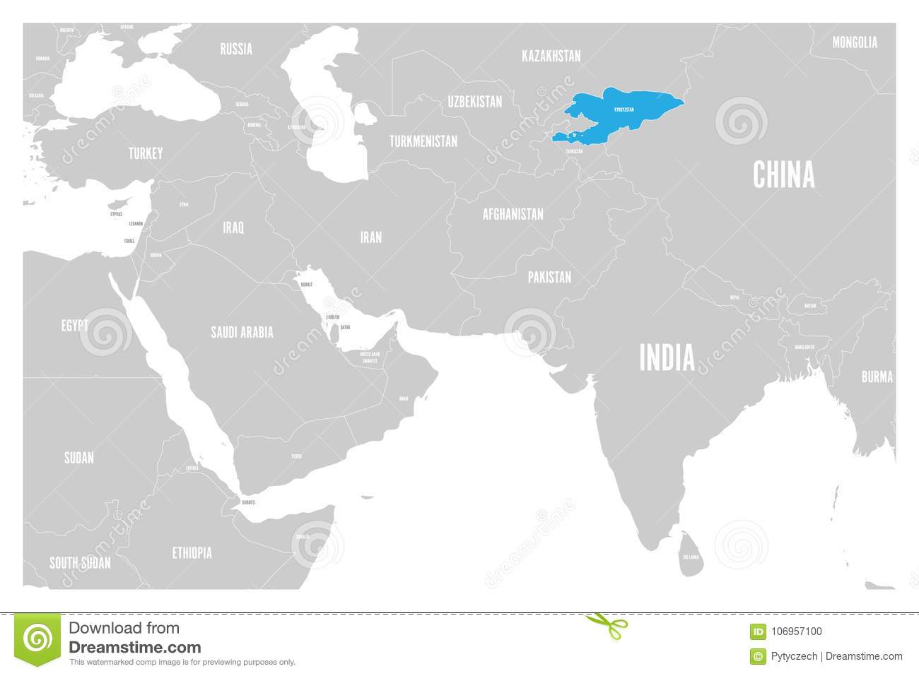 Kyrgyzstan Blue Marked In Political Map Of South Asia And Middle ...