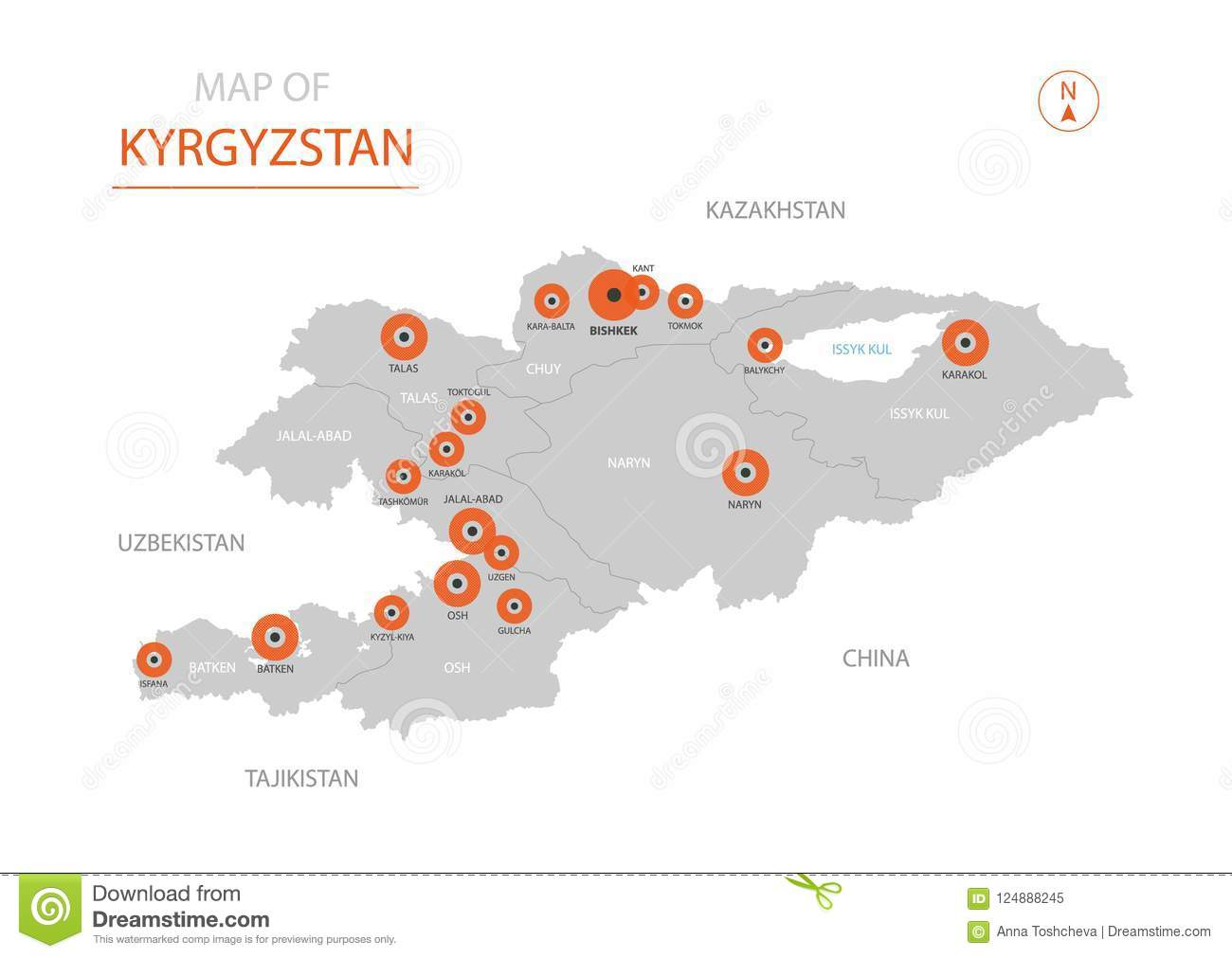 Kyrgyzstan Map With Administrative Divisions. Stock Vector ...