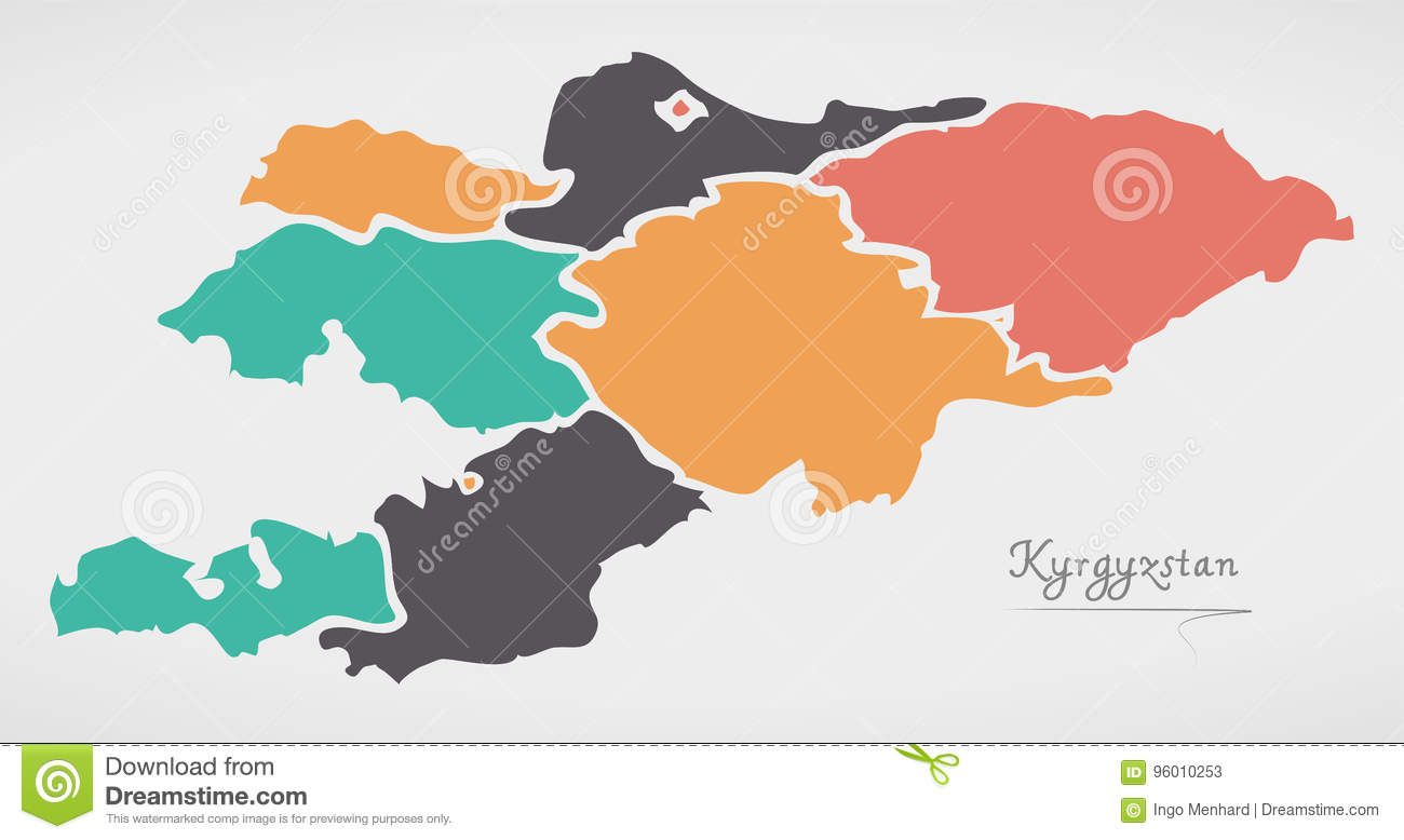 Kyrgyzstan Map With States And Modern Round Shapes Stock ...