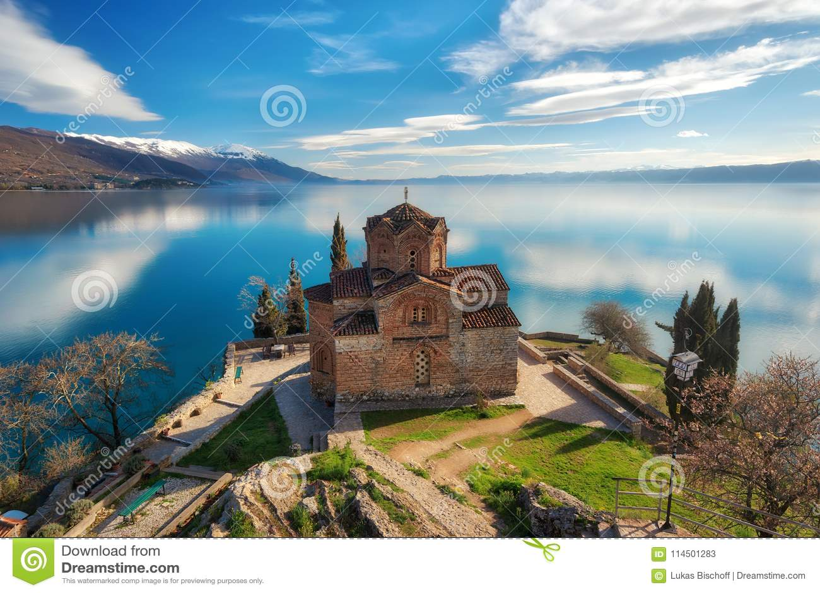 Kyrka av St John teologen - på Kaneo, Ohrid, Makedonien