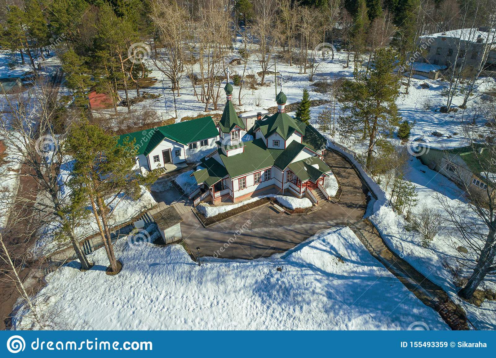 Kyrka av uppstigningen av Herreflygfotograferingen Pitkaranta Karelia