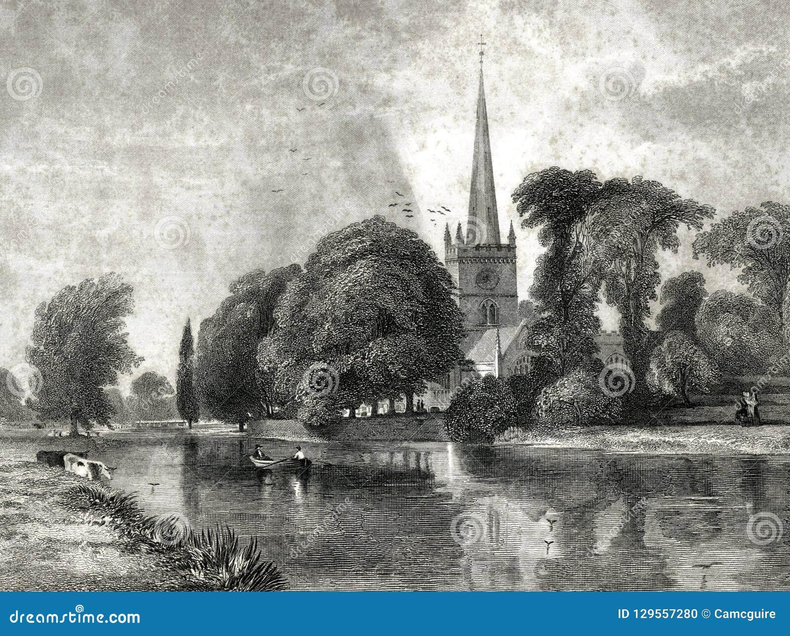 Kyrka på Stratford Burial Place av den Shakespeare illustrationen