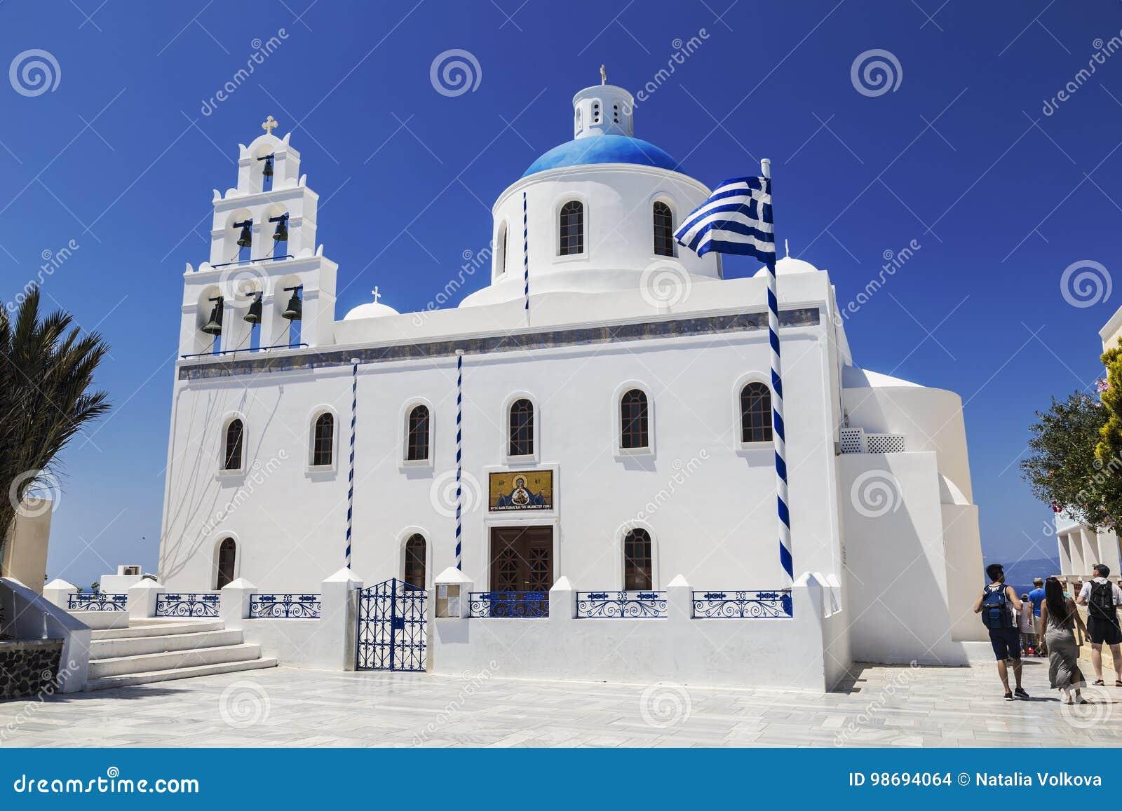 Kyrkan av St Irene i Oia Santorini,