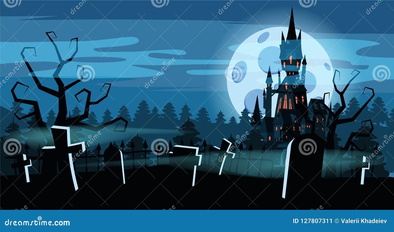 Kyrkogård för mallallhelgonaaftonferie, svart övergiven slott, dyster höstskog, panorama, måne, kors och