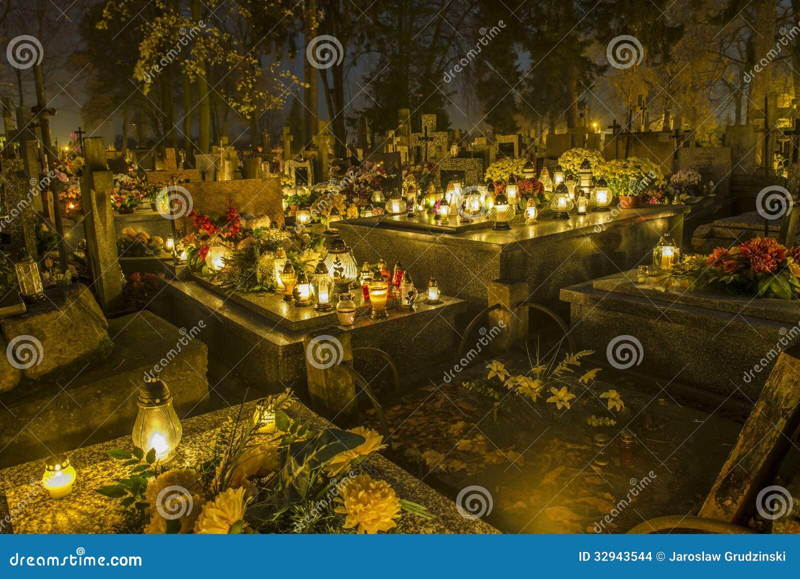 Kyrkogård i Polen på all helgondag